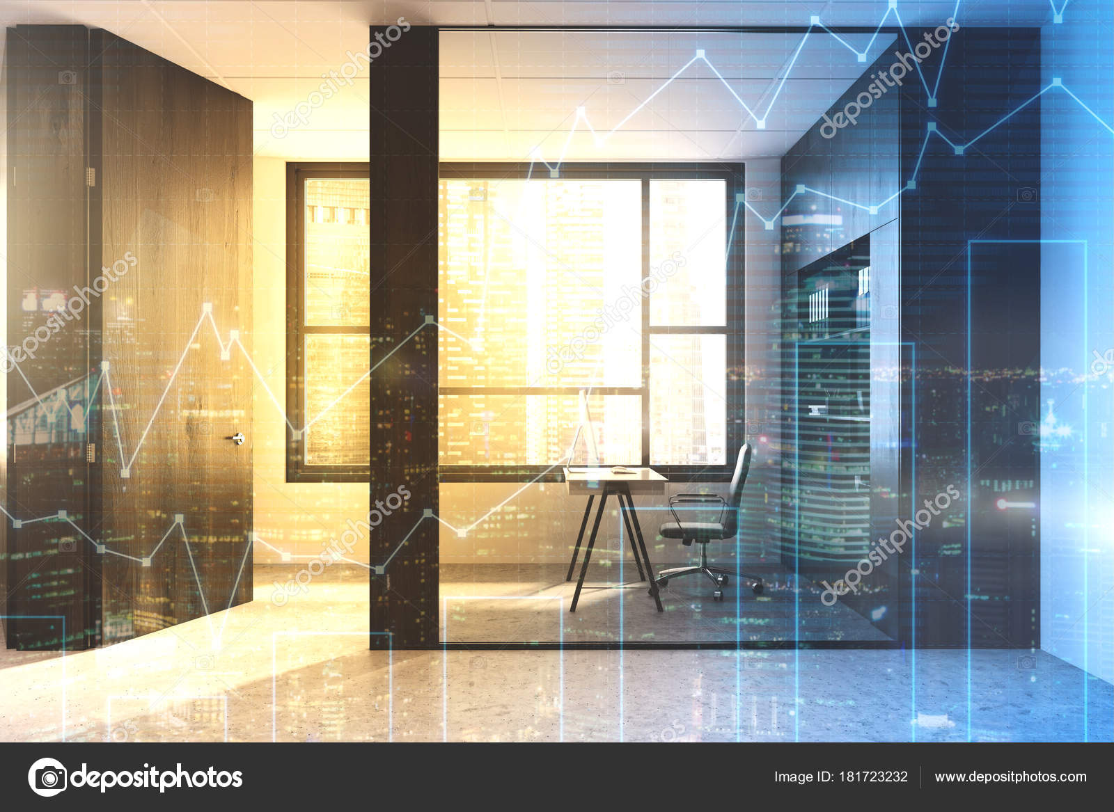 Glass wall manager s office — Stock Photo © denisismagilov #181723232