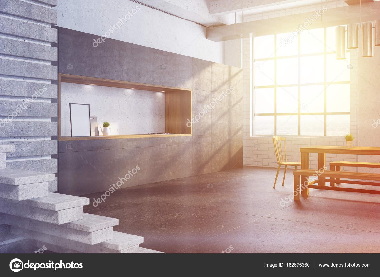 Grijze bakstenen moderne eetkamer hoek toned — Stockfoto ...