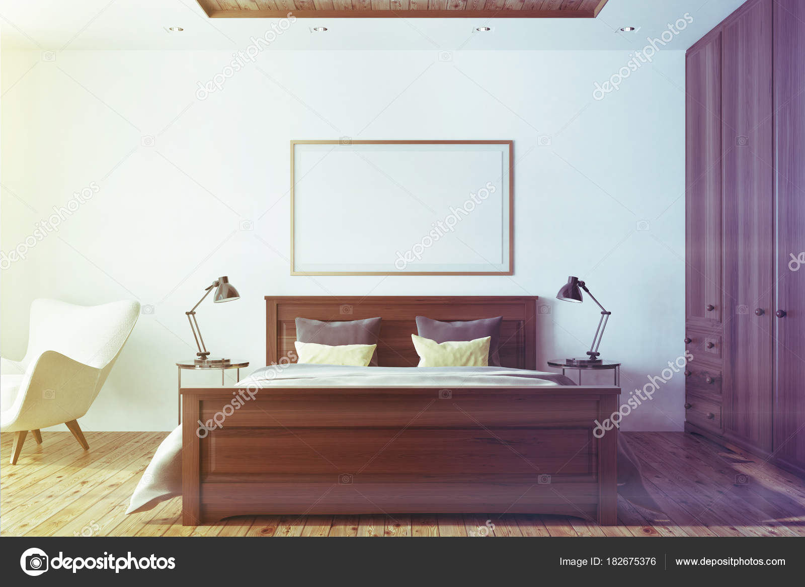 Weiße Schlafzimmer Innenraum mit getönten poster — Stockfoto ...