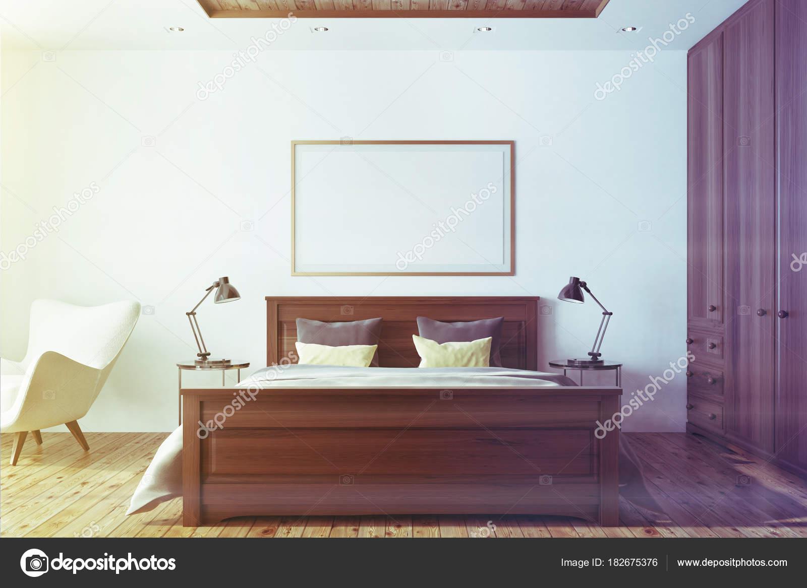 Grijs Wit Slaapkamer : Wit slaapkamer interieur met poster toned u2014 stockfoto