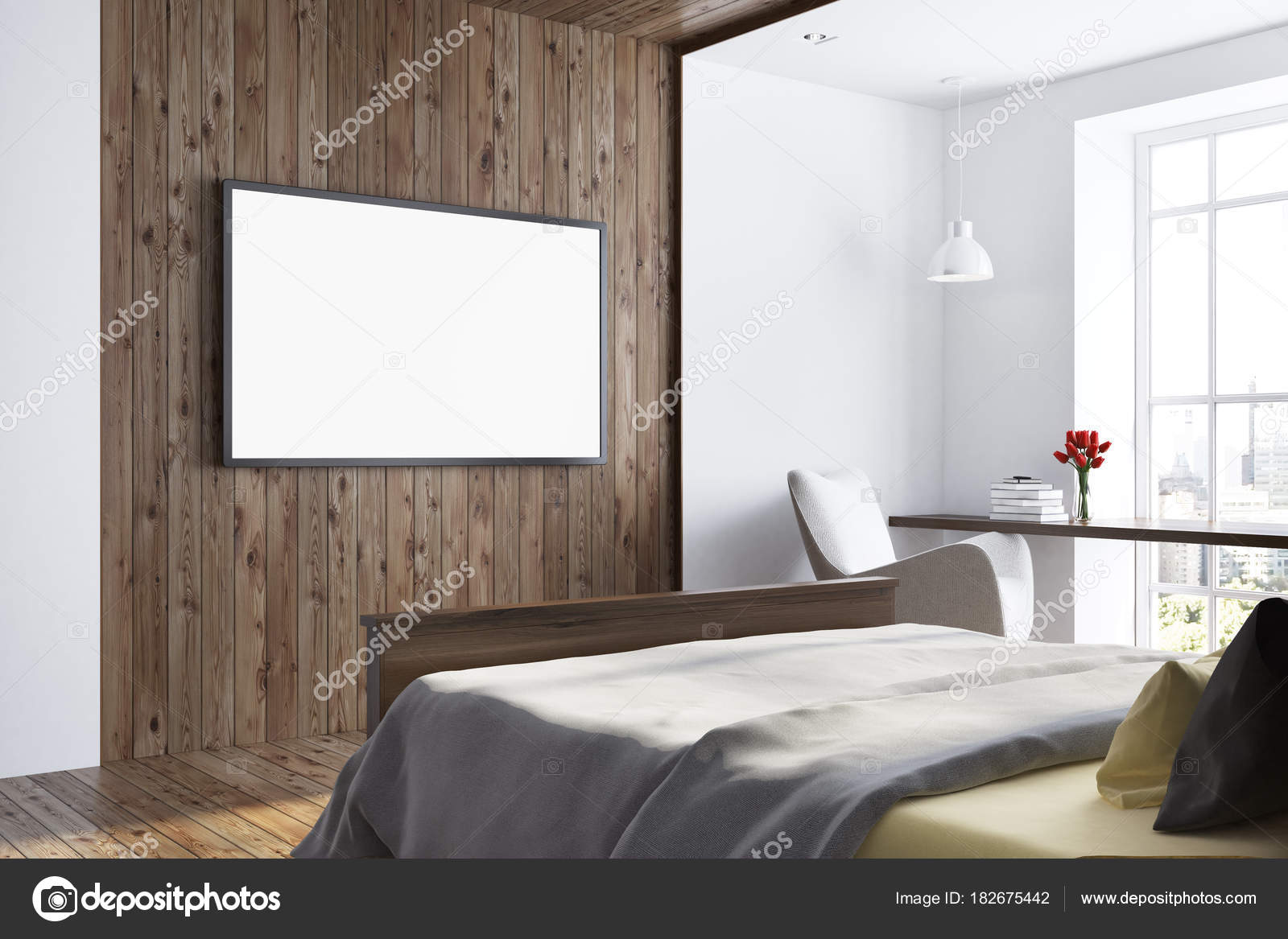 Donkere houten en witte slaapkamer. TV-toestel — Stockfoto ...