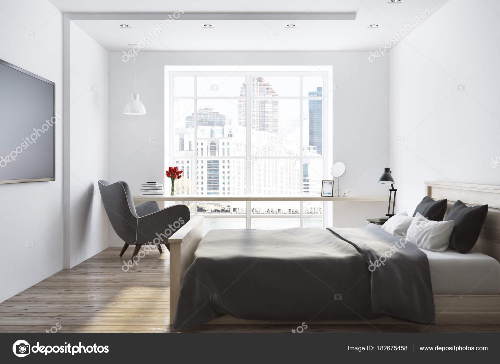 Interno camera da letto bianca del sottotetto — Foto Stock ...