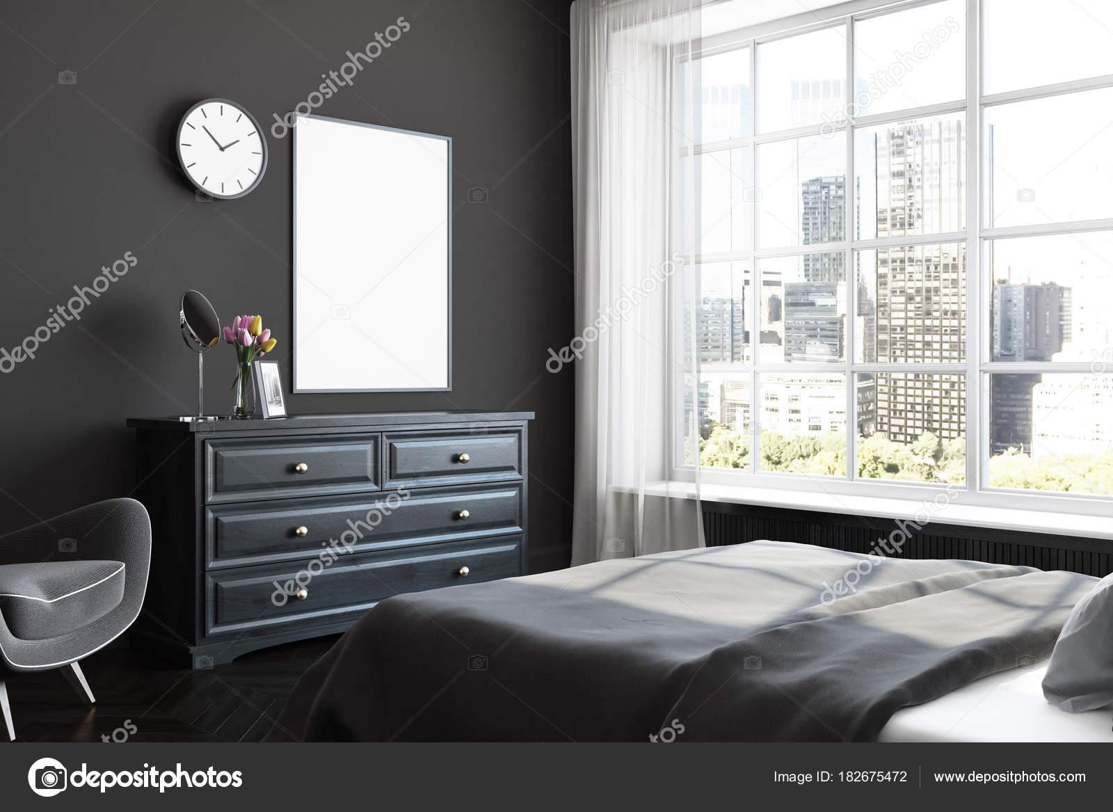 Schwarzen Schlafzimmer Ecke Poster Kommode Stockfoto