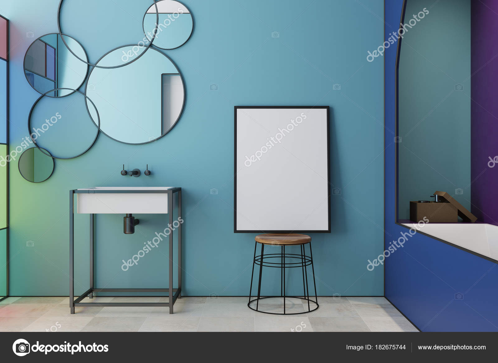 Bagni Colorati Blu : Blu macchiato vetro bagno vasca lavandino poster u foto stock