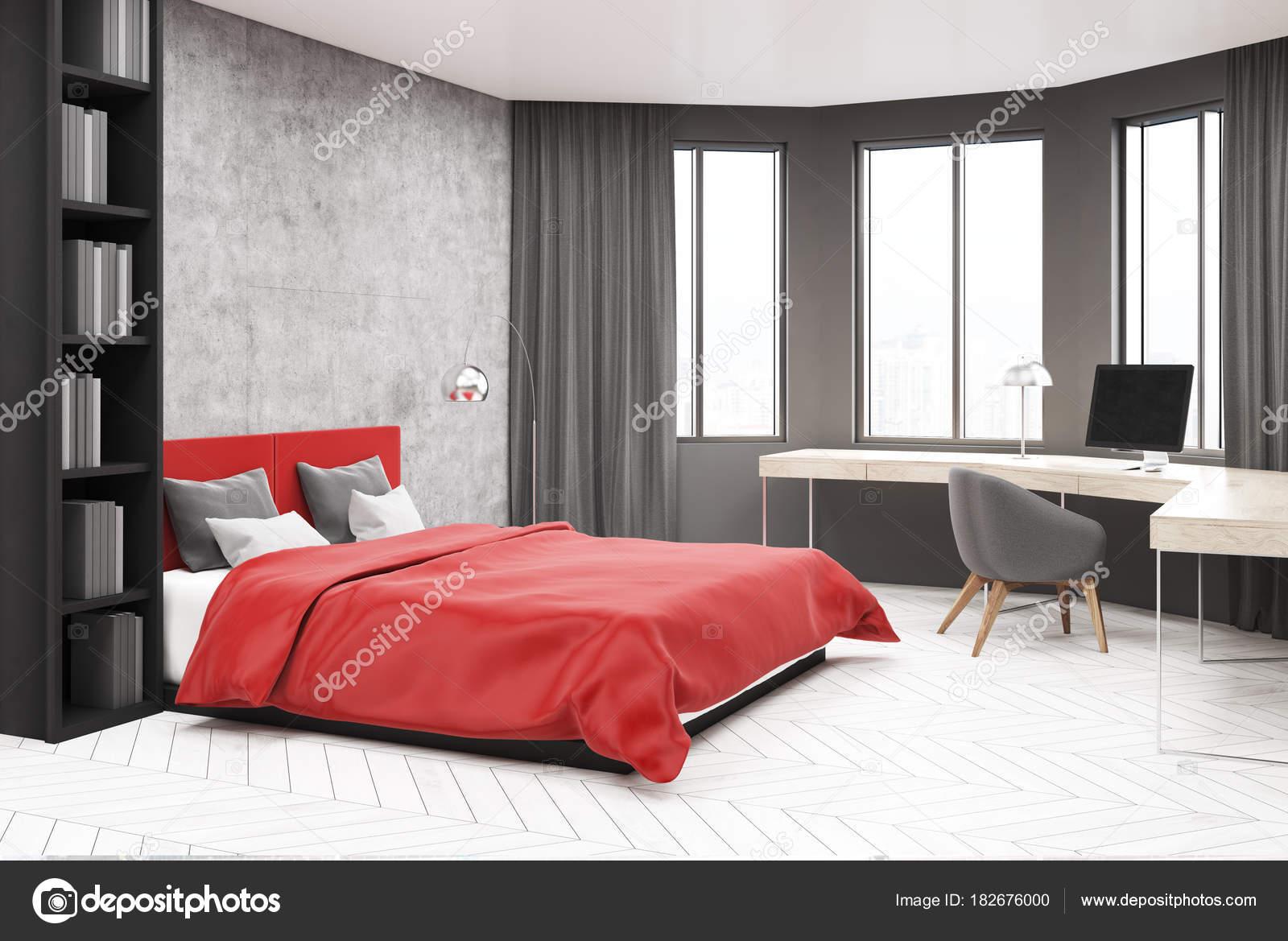 Grijze en rode slaapkamer hoek, computer — Stockfoto ...