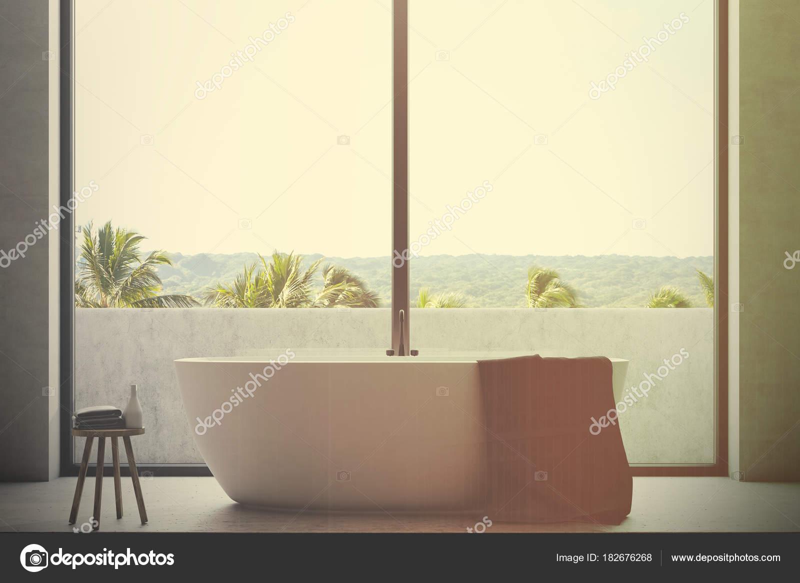 Vasca Da Bagno Doppia : Vasca da bagno bianca nelle vicinanze fino tonica u foto stock