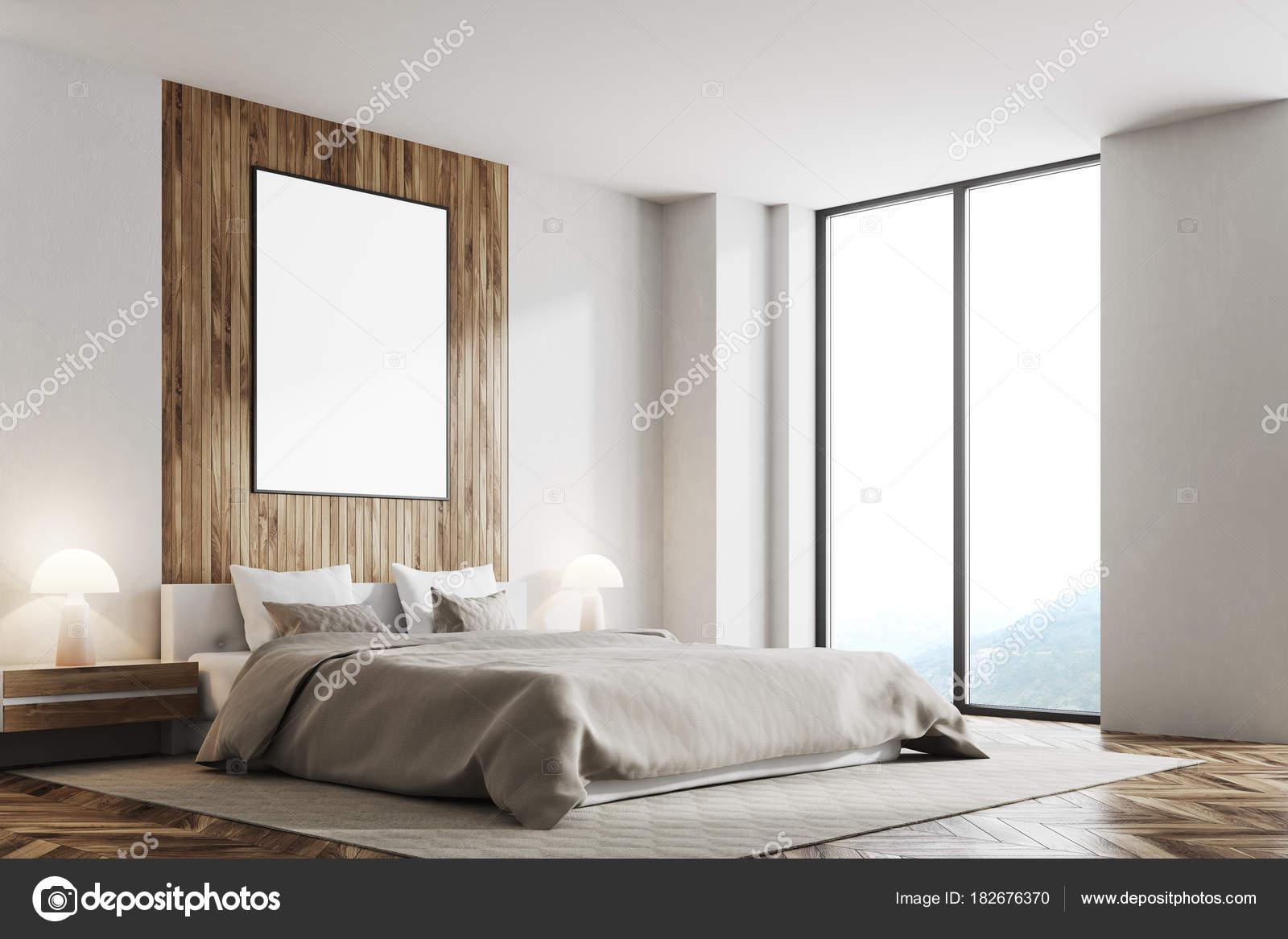 Chambre blanche et en bois, affiche verticale — Photographie ...