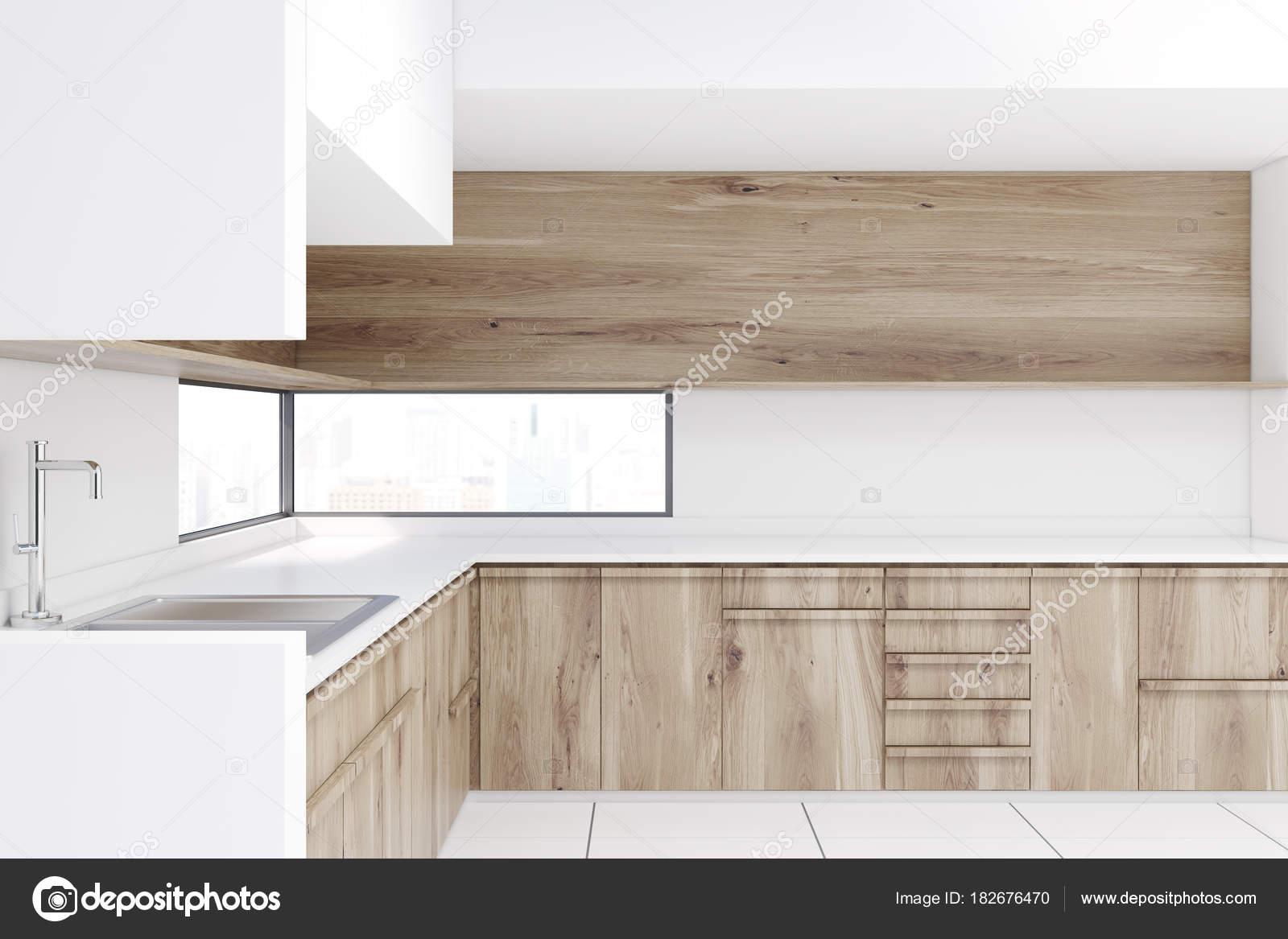 Weiße Küche Interieur, Holz-Arbeitsplatten, bar — Stockfoto ...