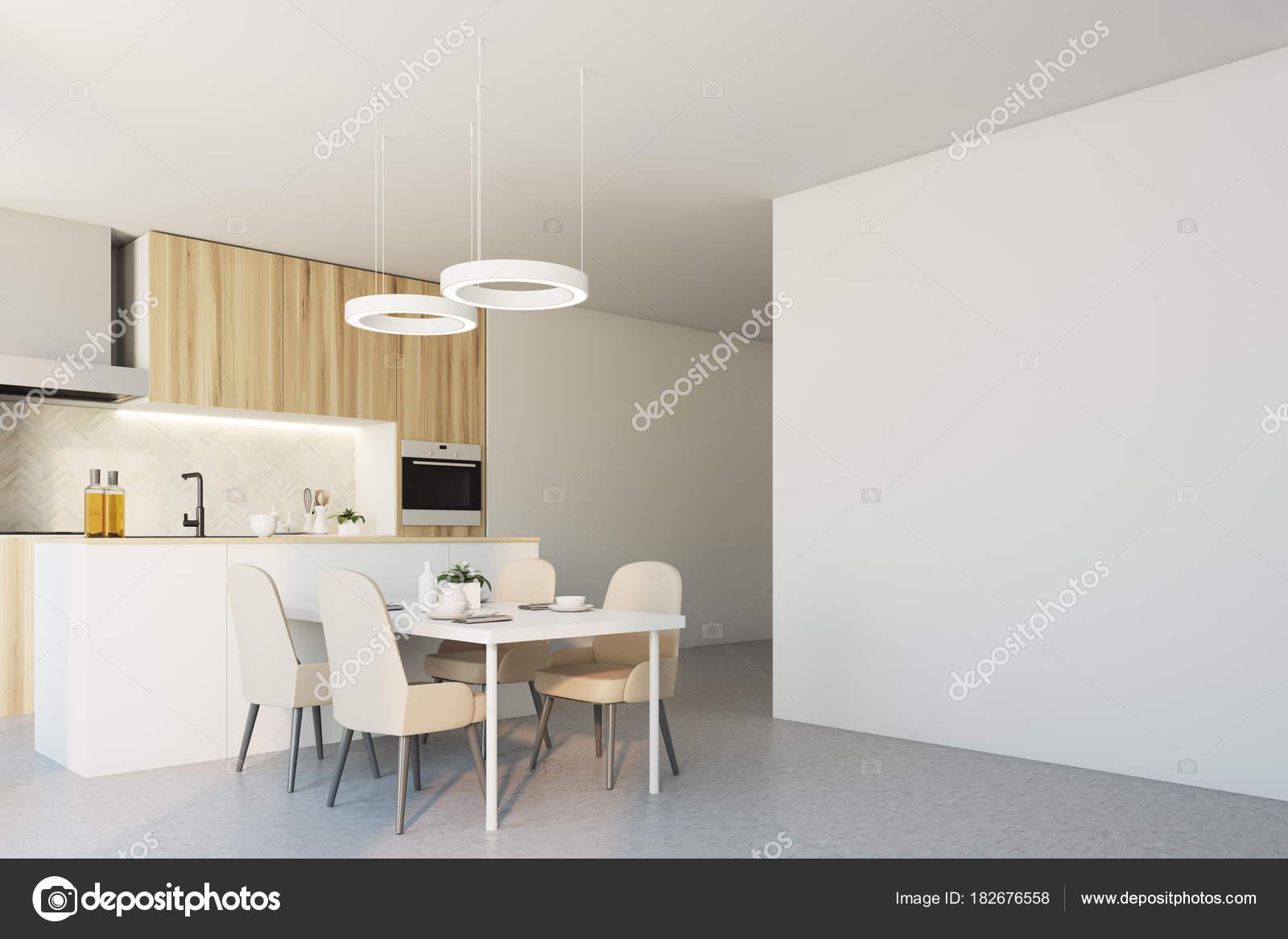 Aus Holz und weißen Ecke Küchenwand — Stockfoto © denisismagilov ...