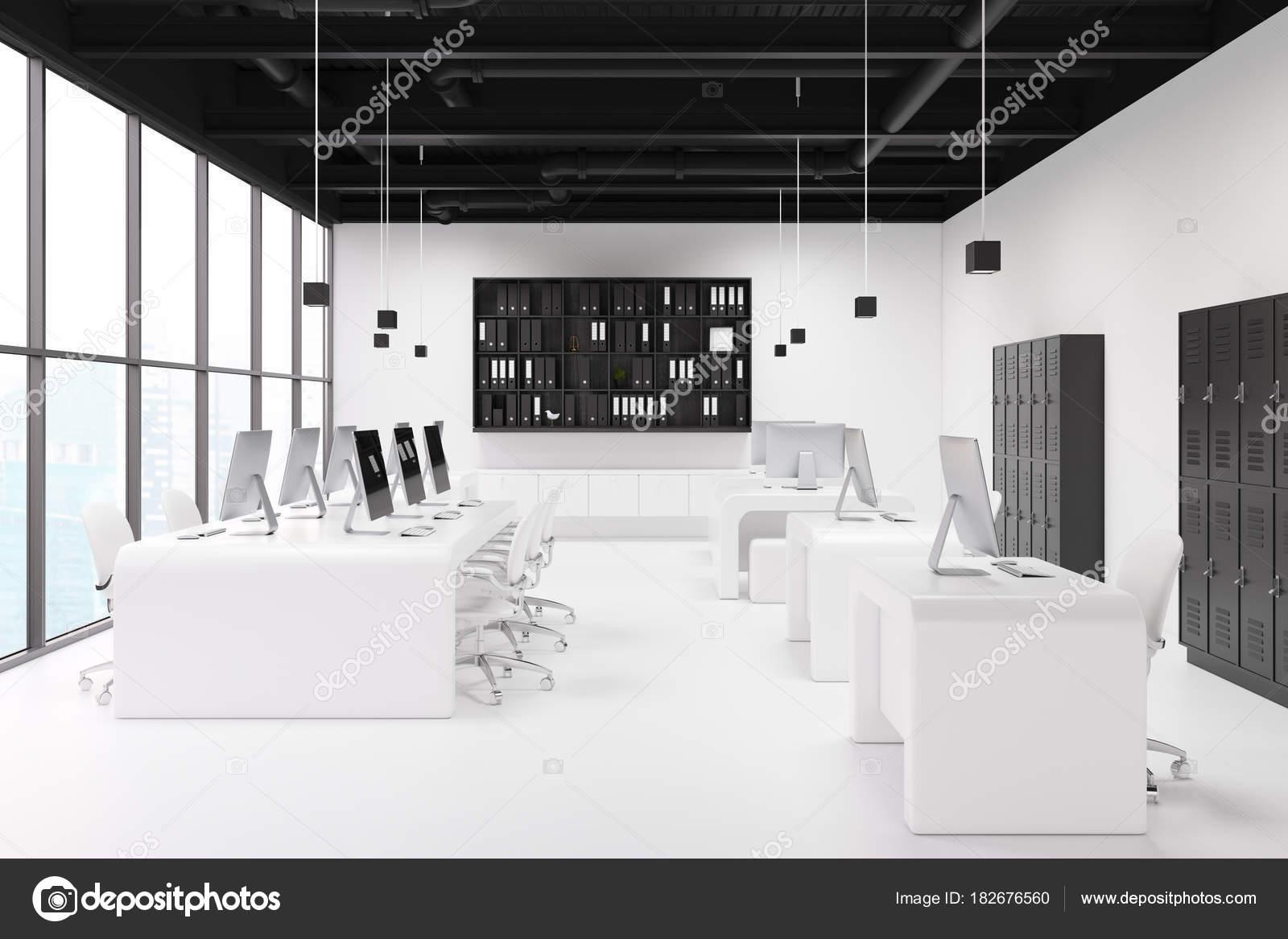 Armoires de vestiaires de bureau blanc noir u2014 photographie