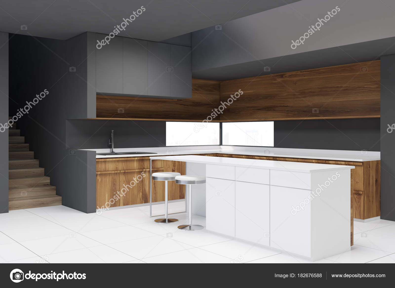 Graues Holz Arbeitsplatten, Küche, bar — Stockfoto © denisismagilov ...