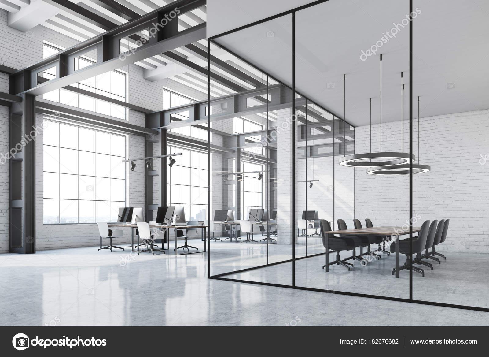 Weisse Ziegel Loft Buro Ecke Konferenzraum Stockfoto