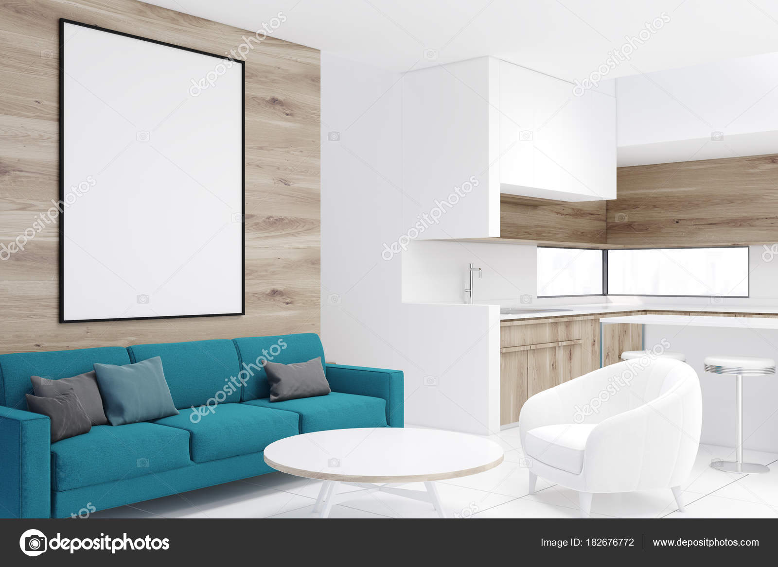 Esquina de madera sala de estar, sofá azul, cartel — Foto de stock ...