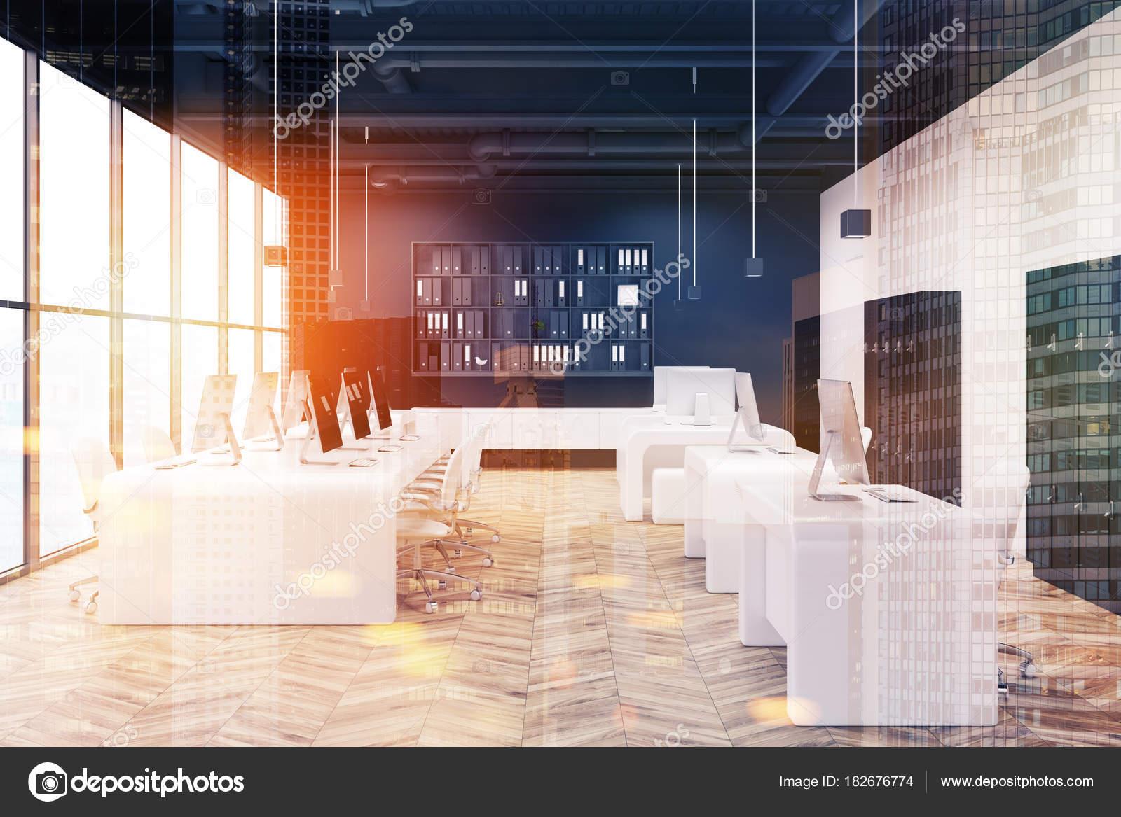 Getönten weißen Büro schwarze Umkleide Schränke Holz — Stockfoto ...