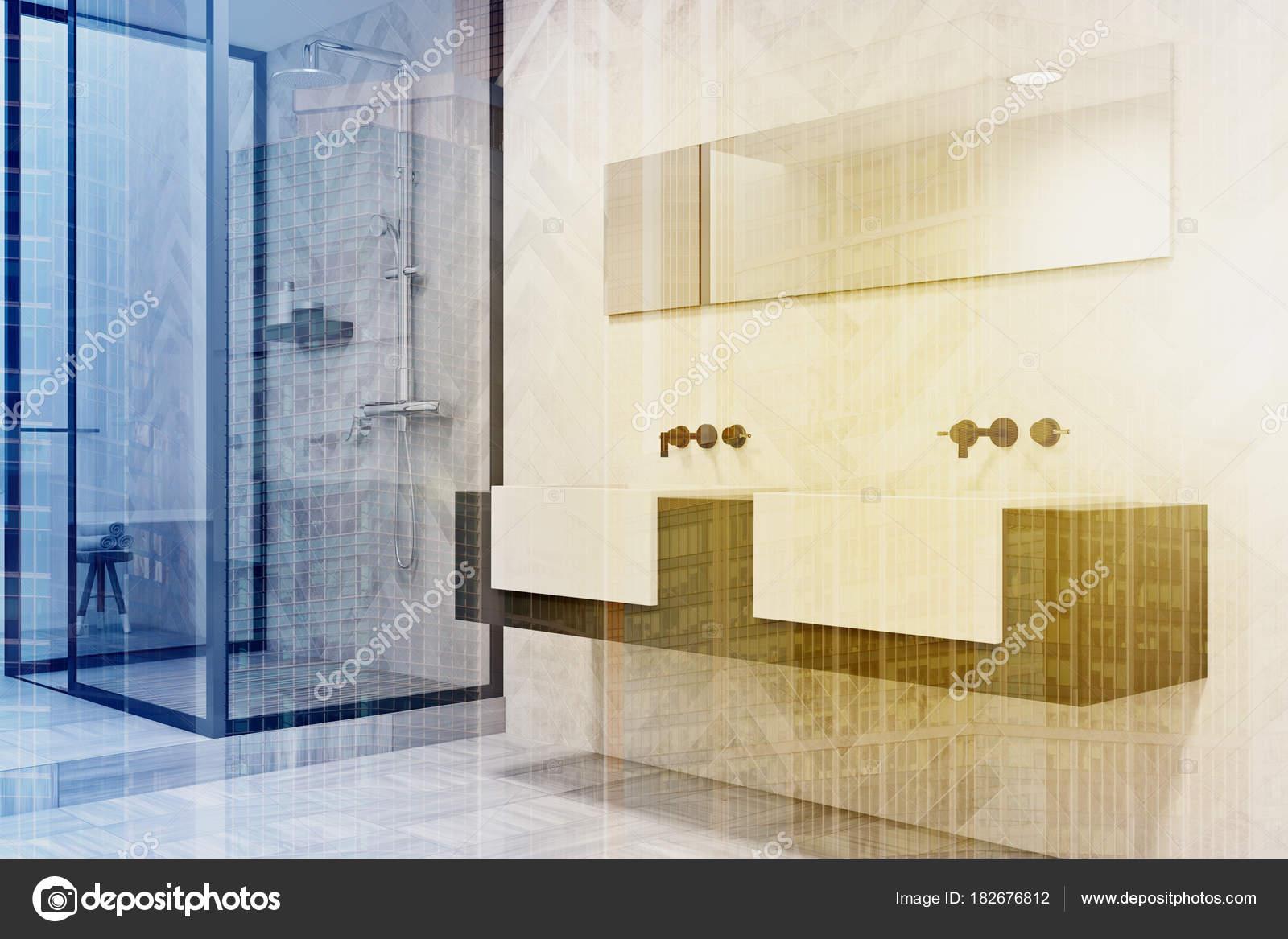 Aux tons gris et blanc double vasque salle de bain côté ...