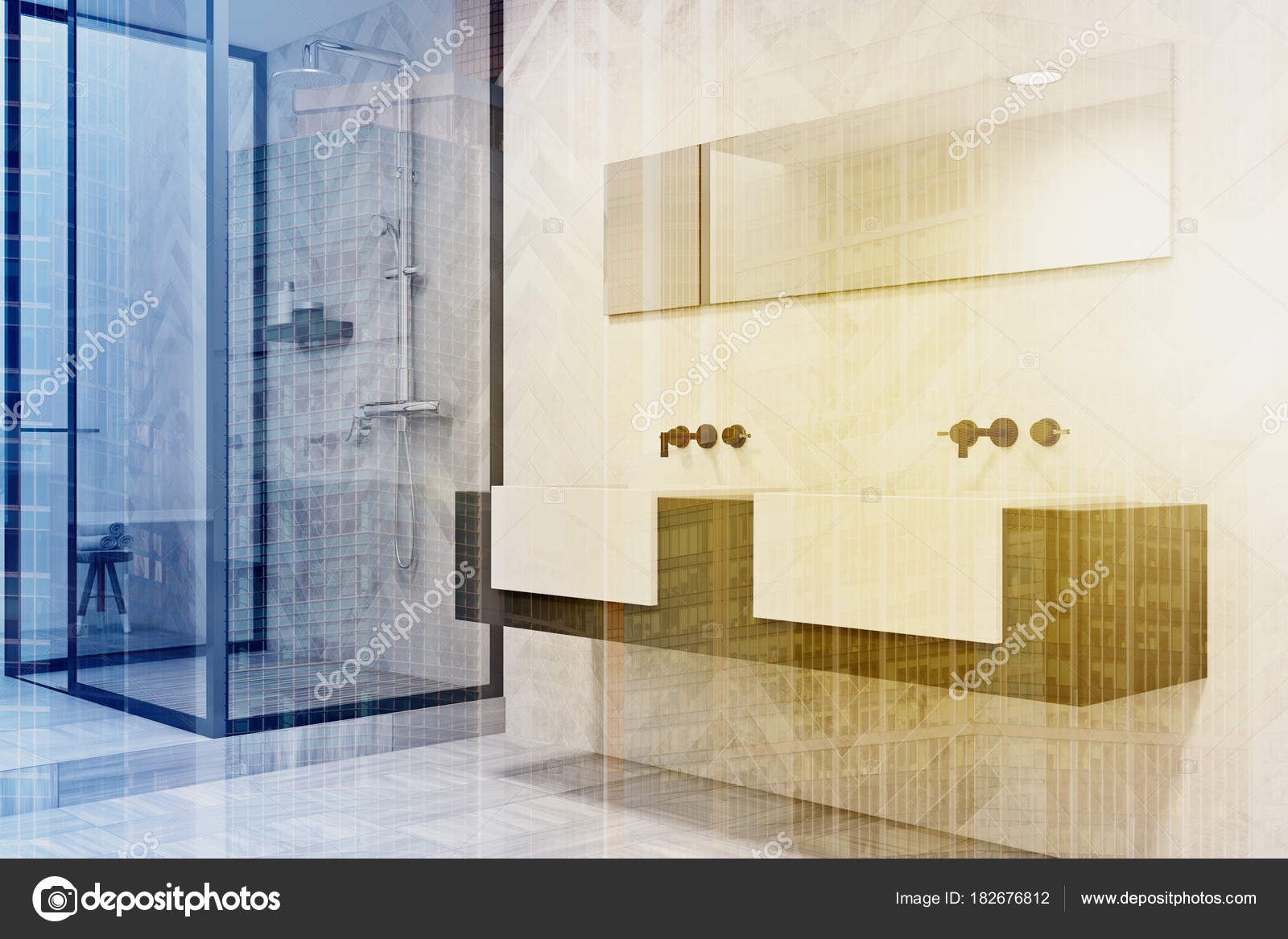 Grijs en wit dubbele wastafel badkamer kant toned — Stockfoto ...