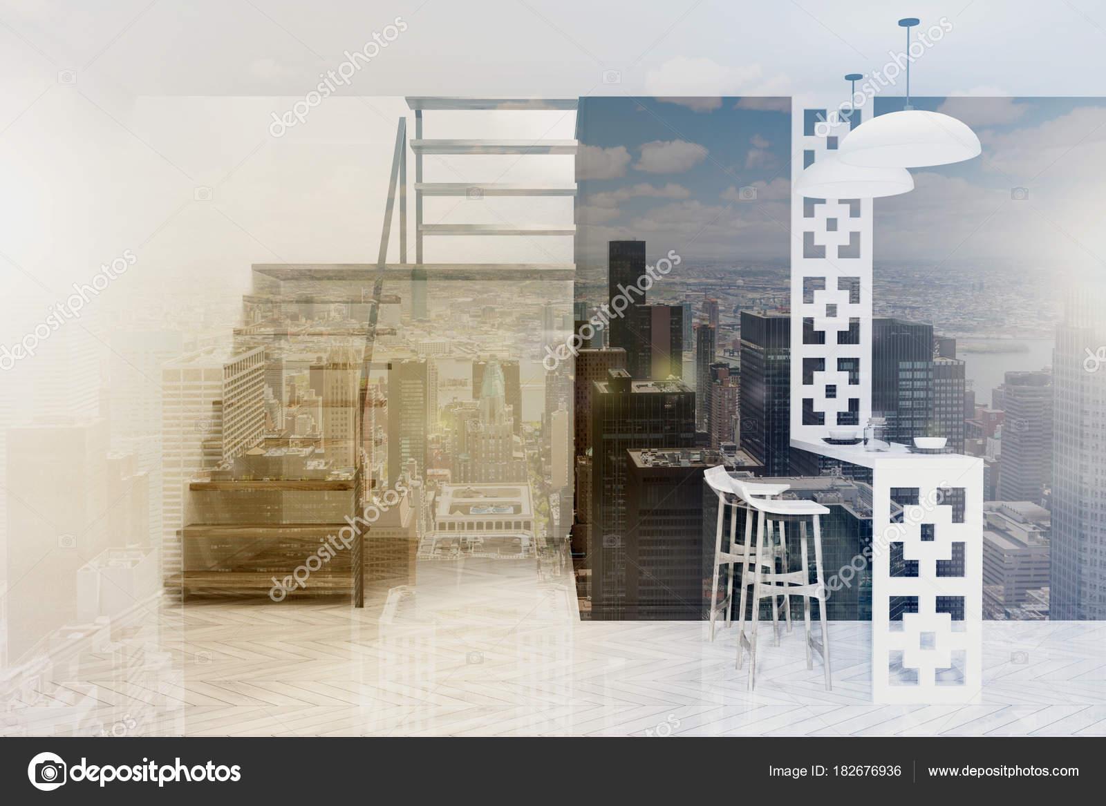 Zwarte eetkamer met trap toned — Stockfoto © denisismagilov #182676936