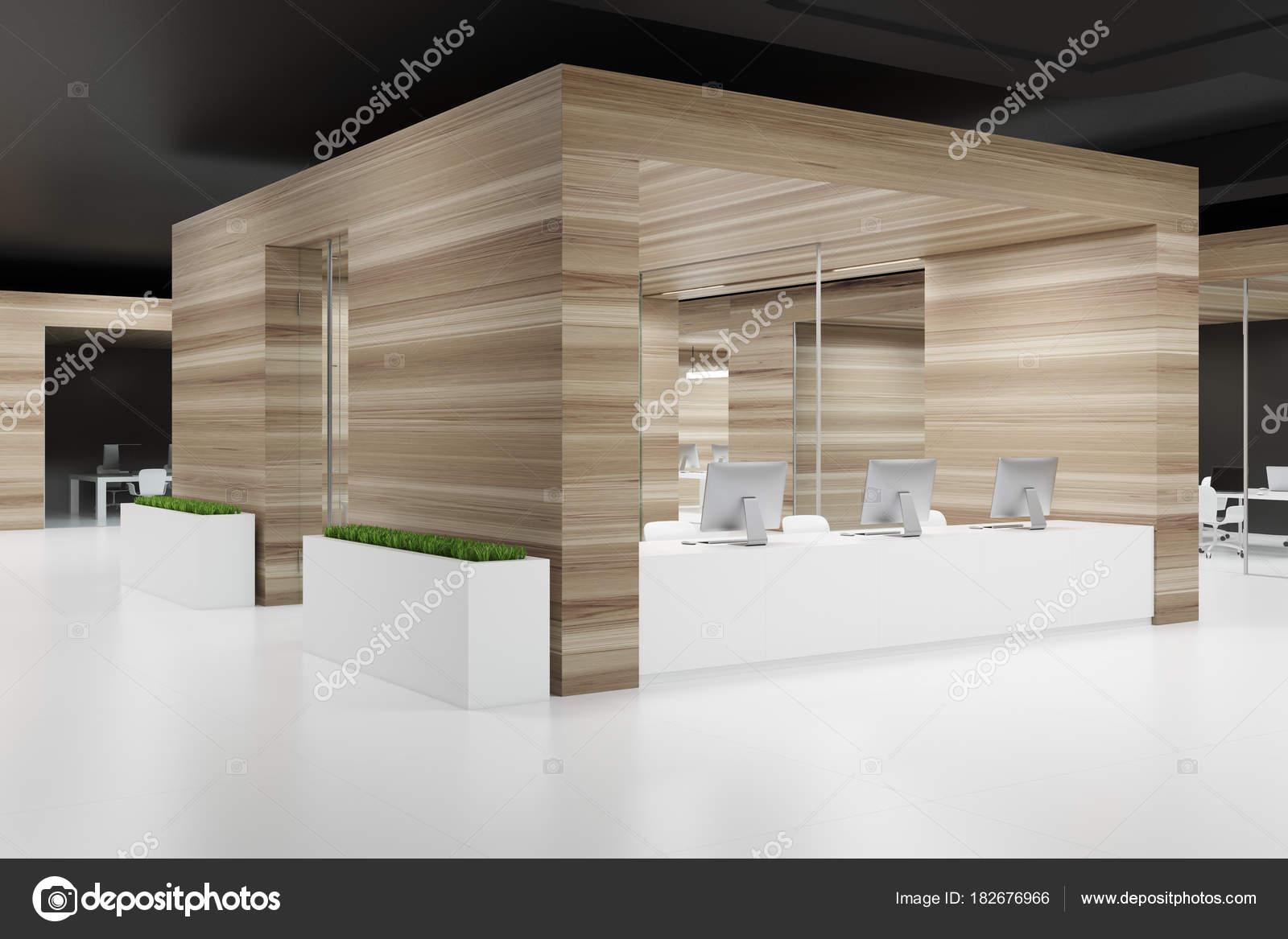 Côté de plafond mur en bois bureau noir u photographie