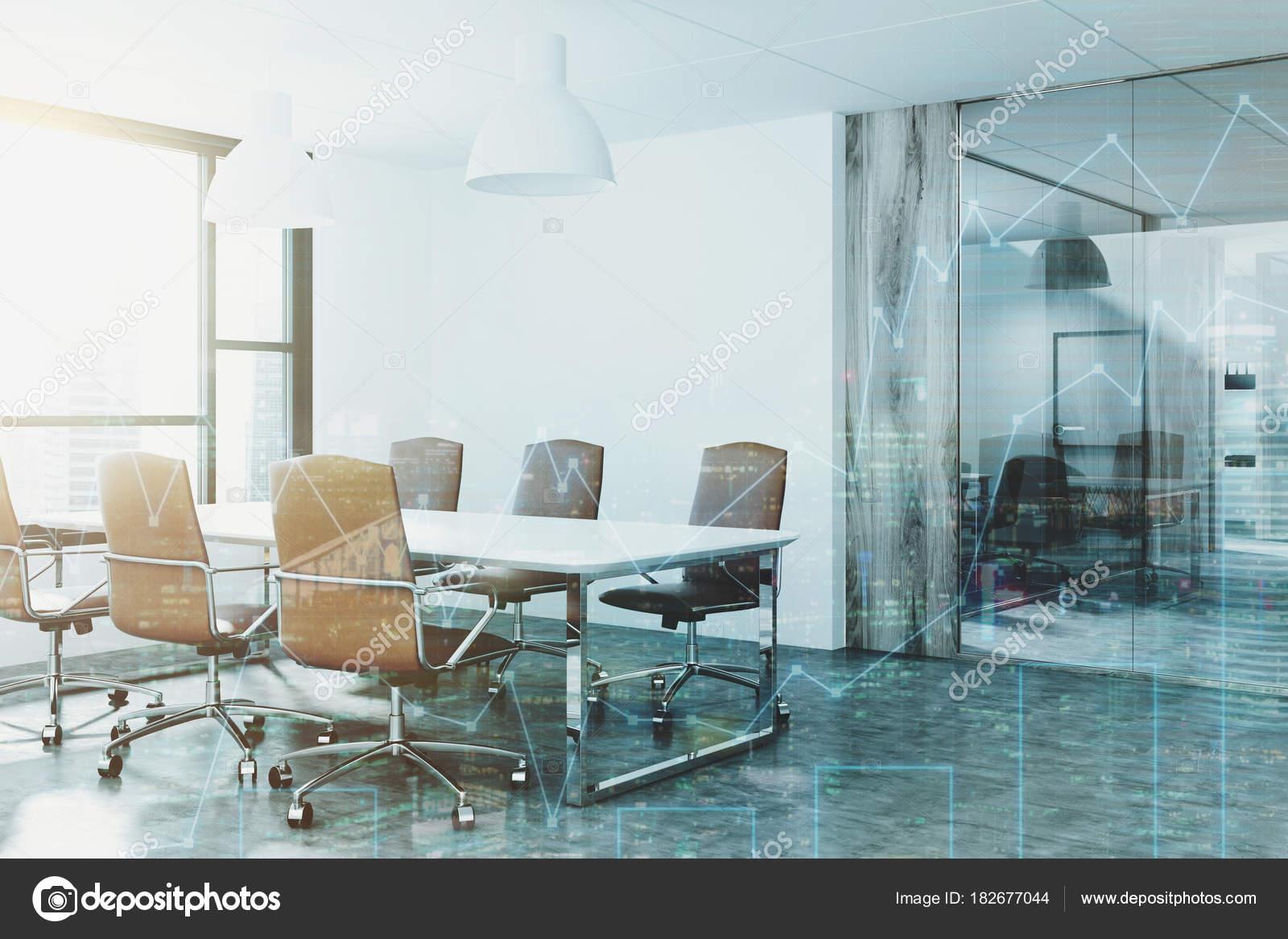 Wit en glas kamer hoek vergadering gestemde u stockfoto