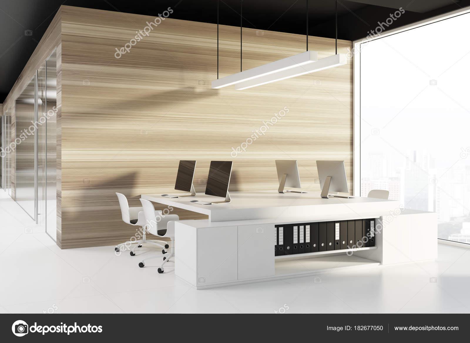 Coin bureau de plafond noir écrans dordinateur u2014 photographie