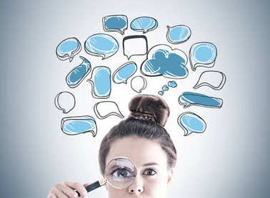 Magnifying glass woman, speech bubbles