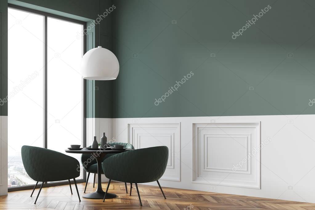 Zwarte Ronde Tafel : Zwarte ronde tafel in de hoek van een café u stockfoto