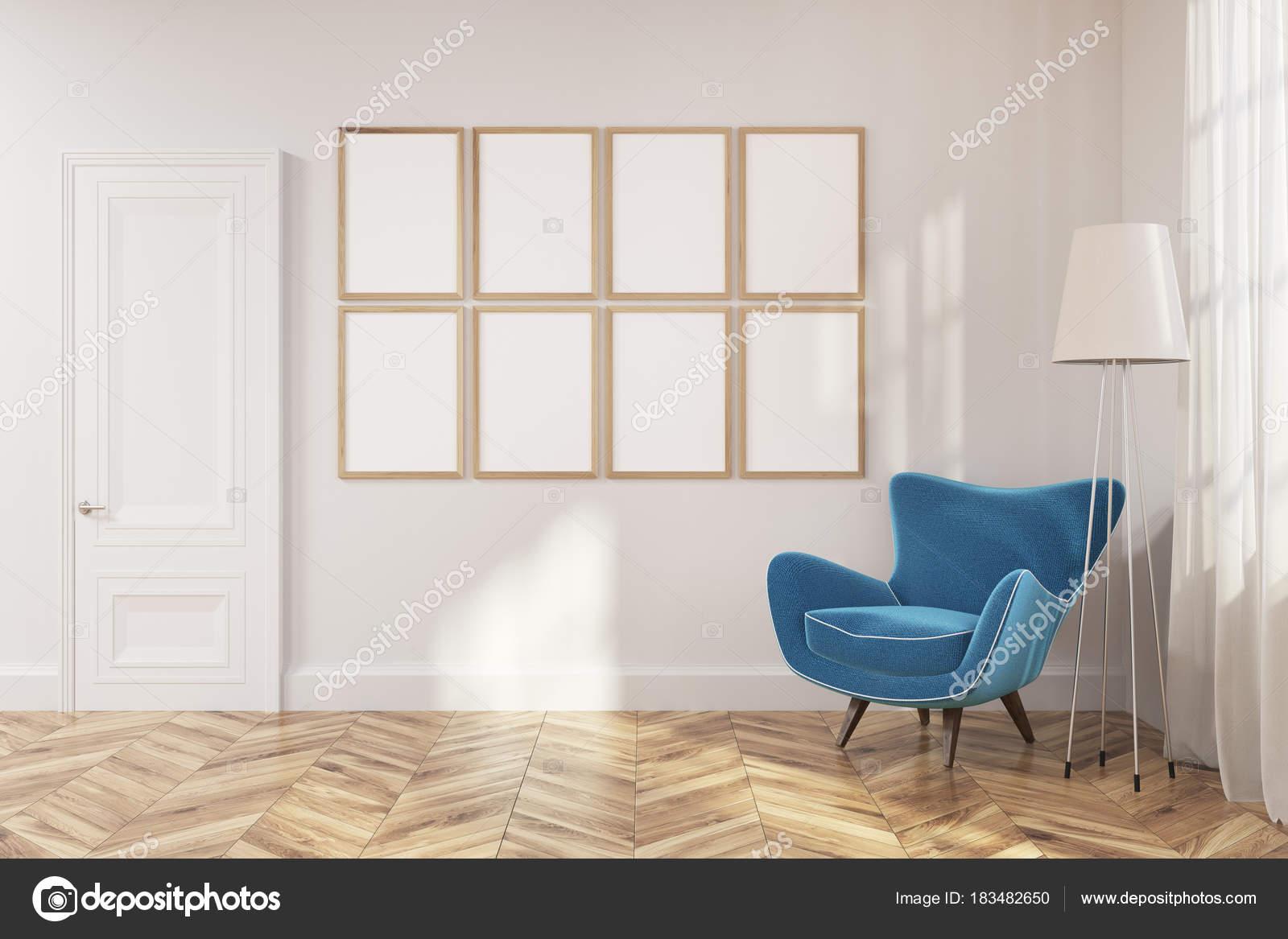 Wohnzimmer Galerie, Blaue Sessel U2014 Stockfoto