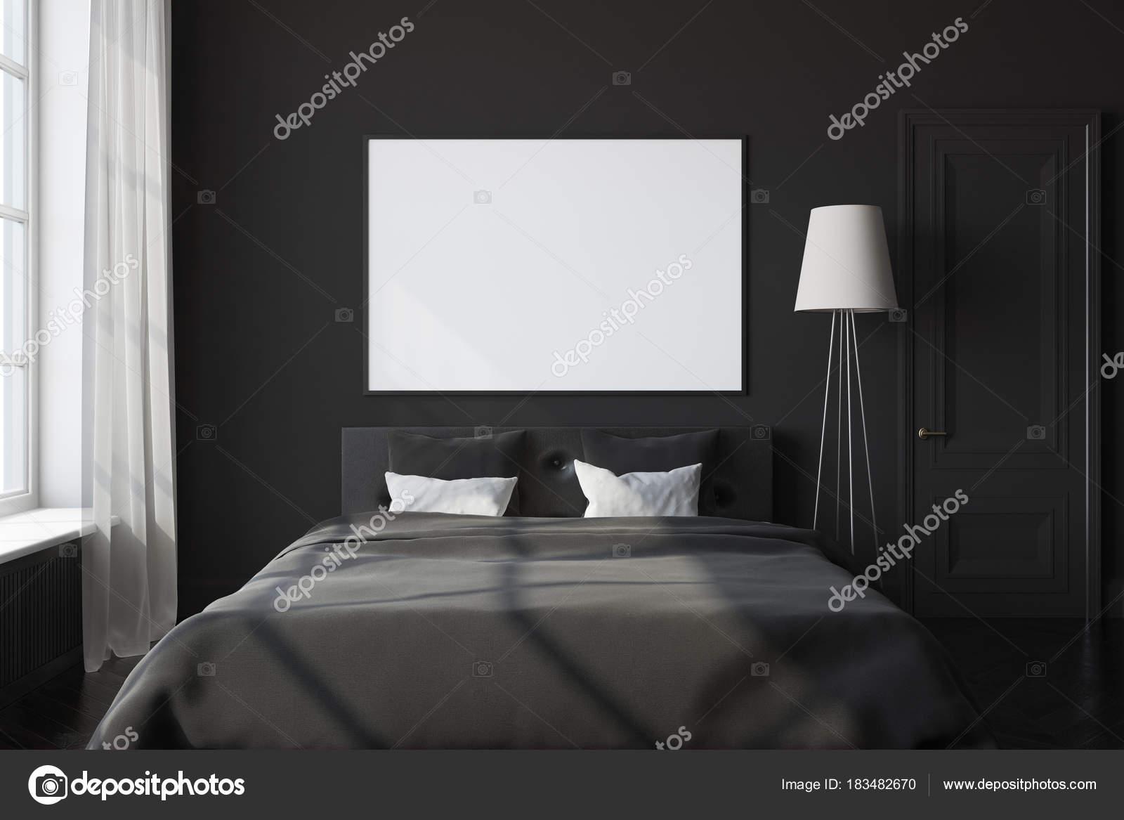 Affiche intérieur, chambre à coucher noir — Photographie ...
