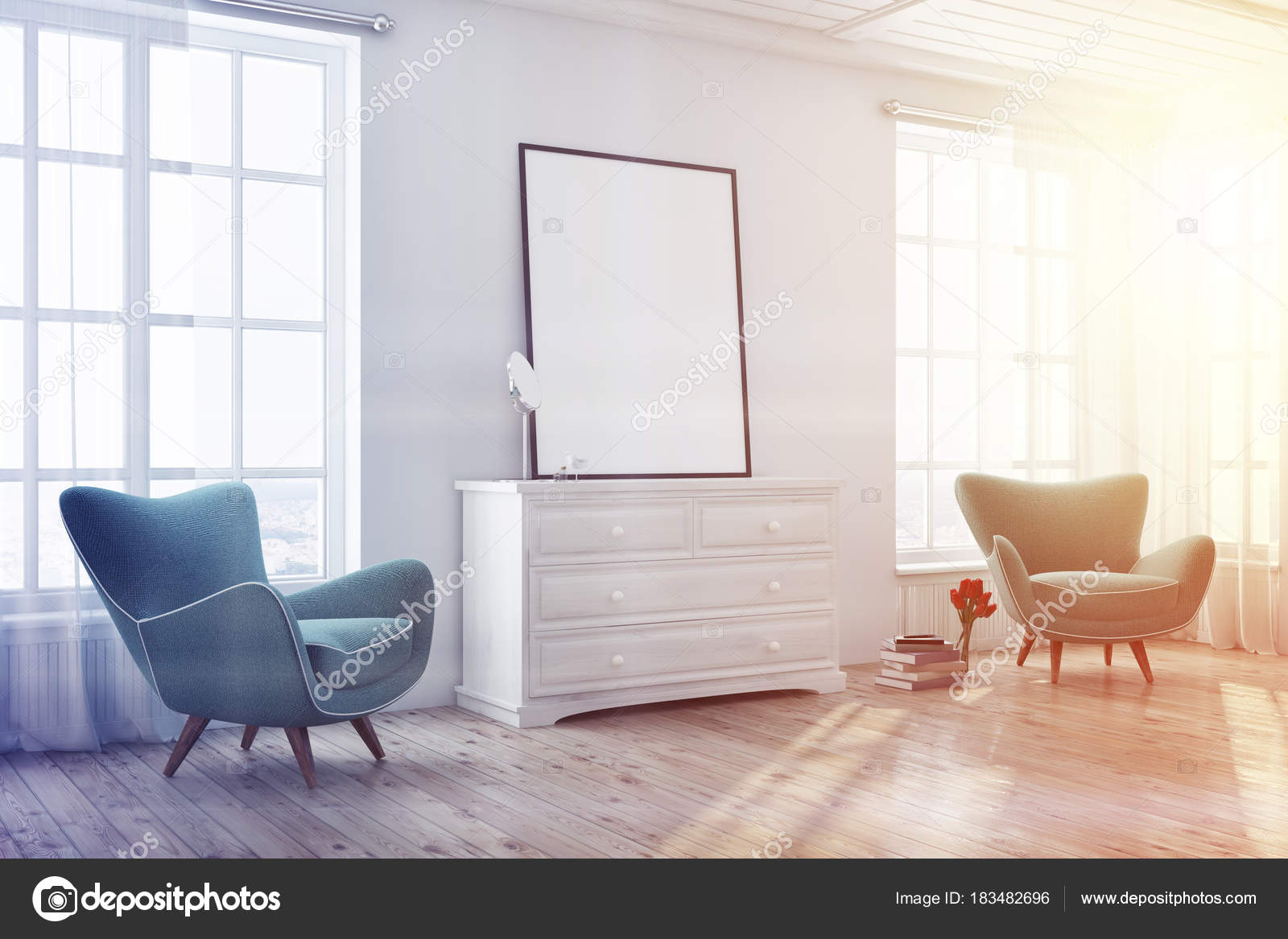 Living room, green armchairs, poster side toned — Stock Photo ...