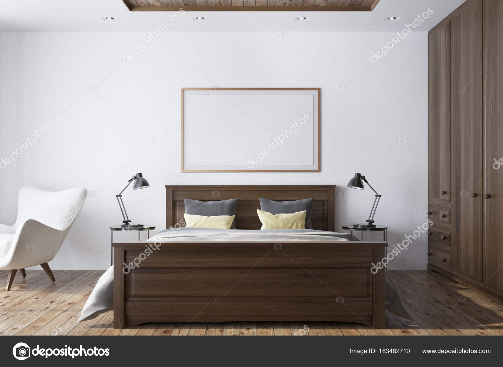 Interno camera da letto bianca con poster — Foto Stock ...