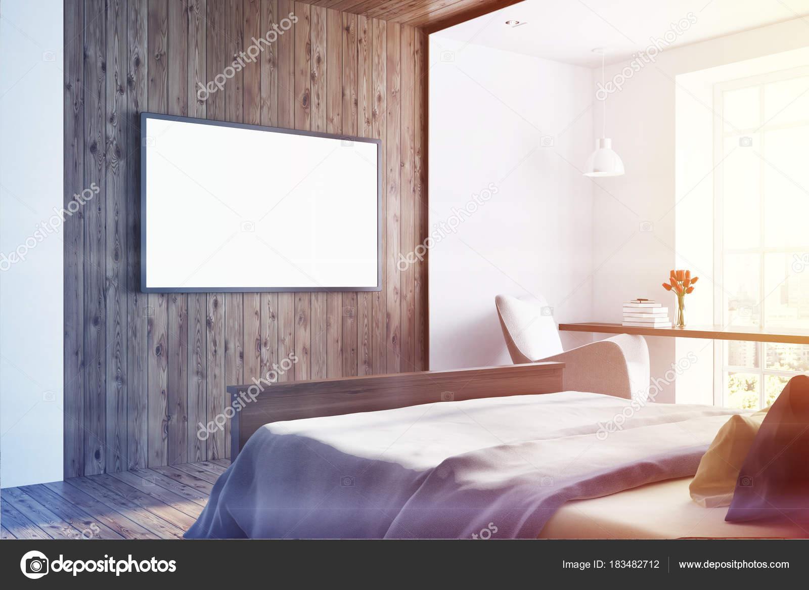 Camera Da Letto Legno Bianco : Camera da letto bianco e legno scuro televisore tonica u foto