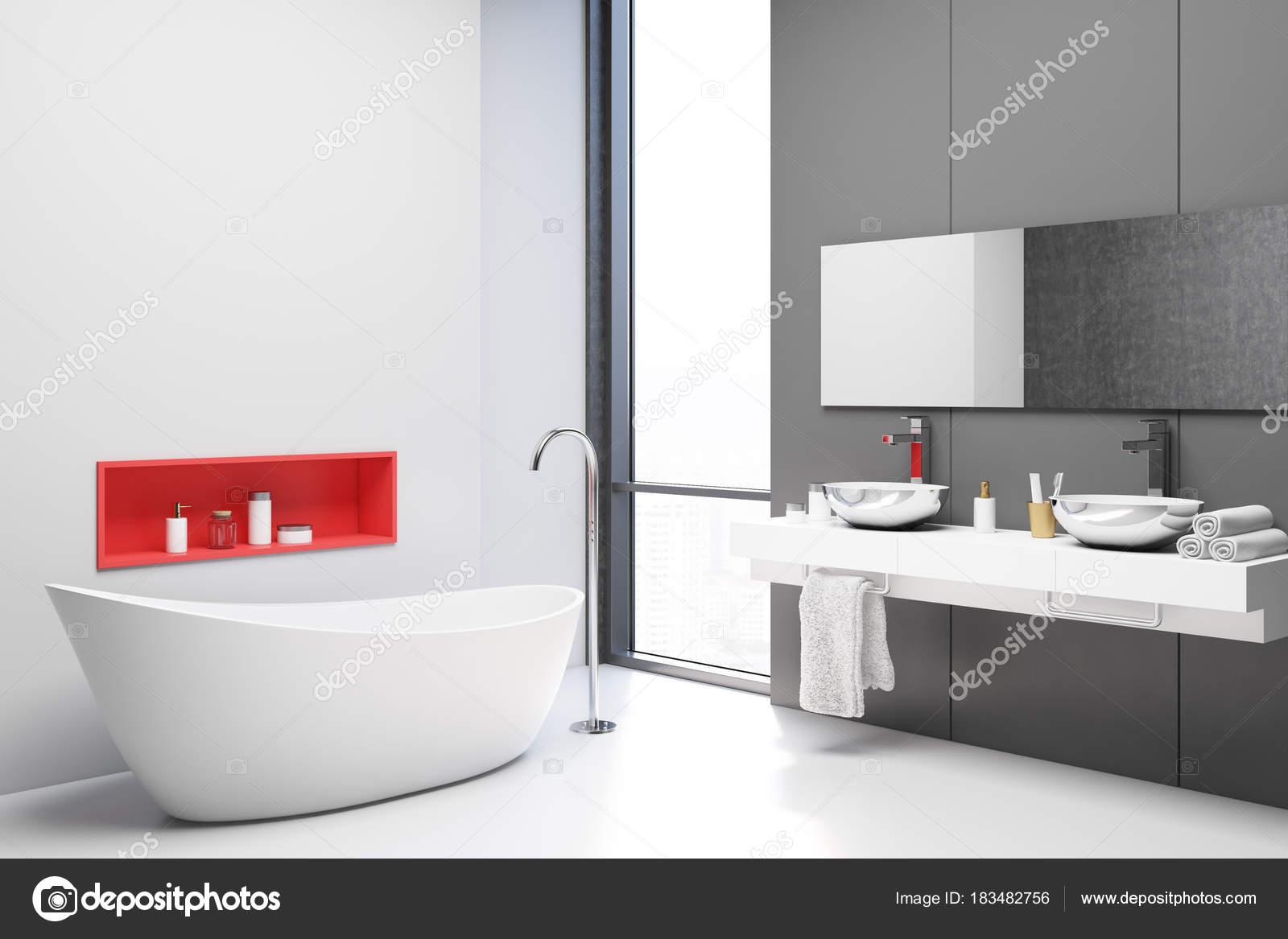 Witte en grijze badkamer hoek — Stockfoto © denisismagilov #183482756