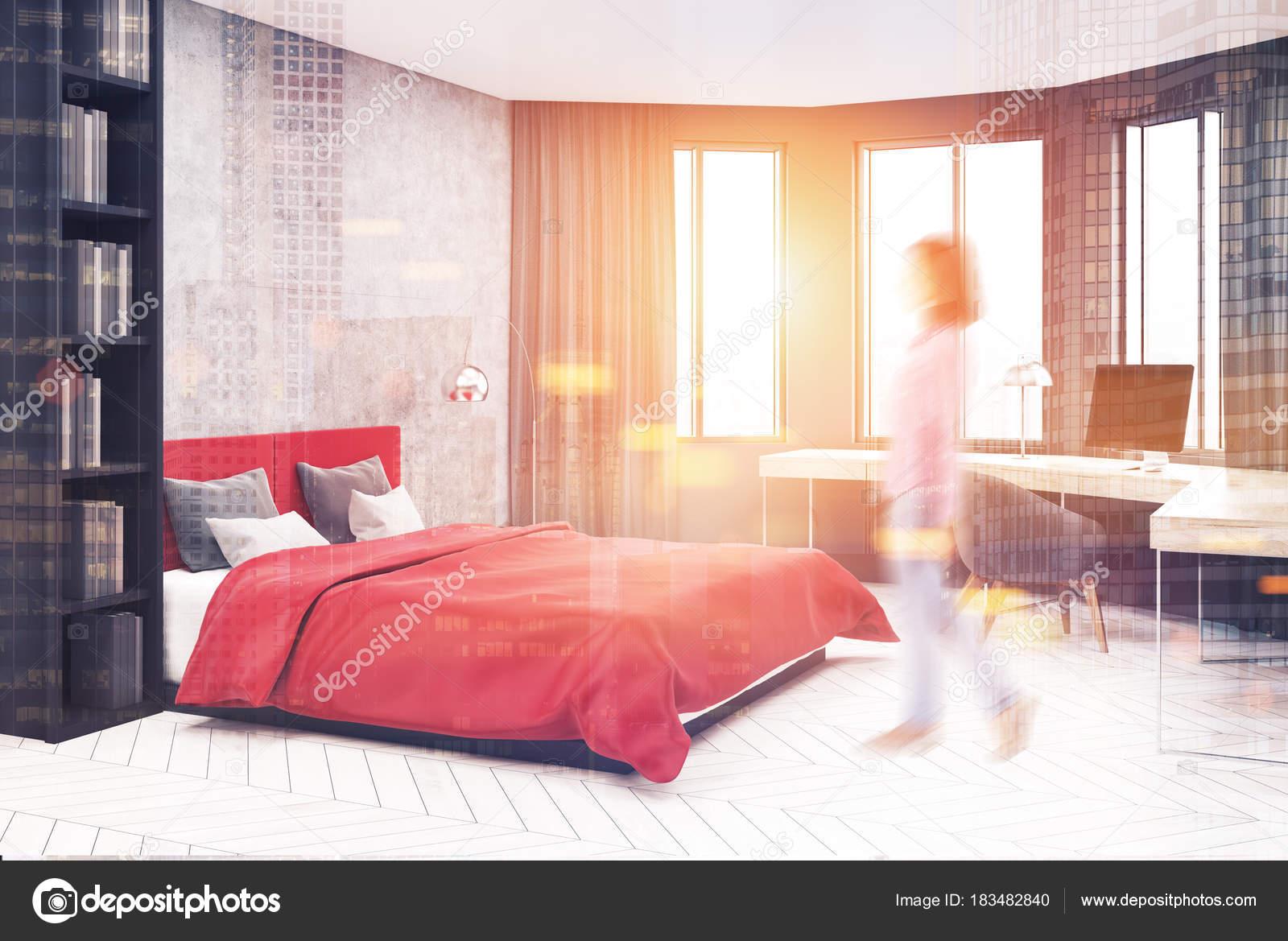 Camera Da Letto Rossa E Grigia : Angolo camera da letto grigio e rosso computer tonica u foto