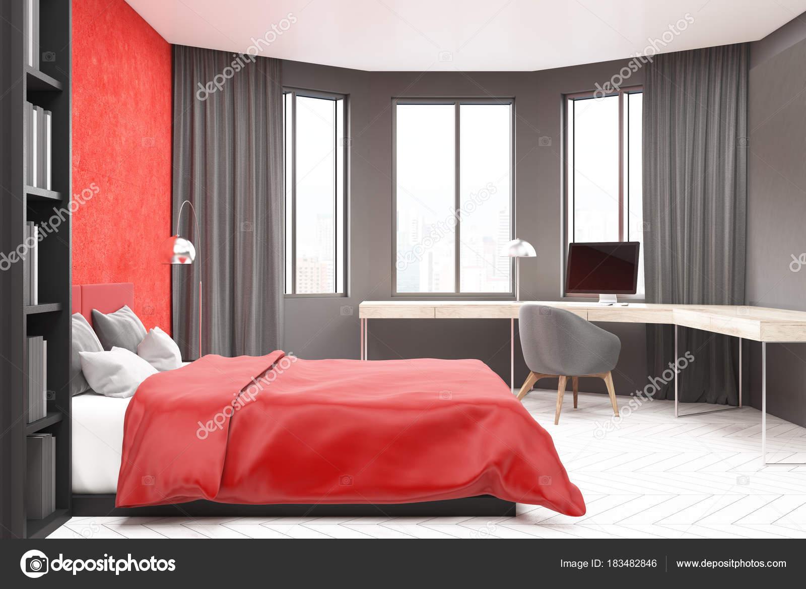 Pareti Grigie E Rosse : Camera da letto grigio e rosso computer u foto stock