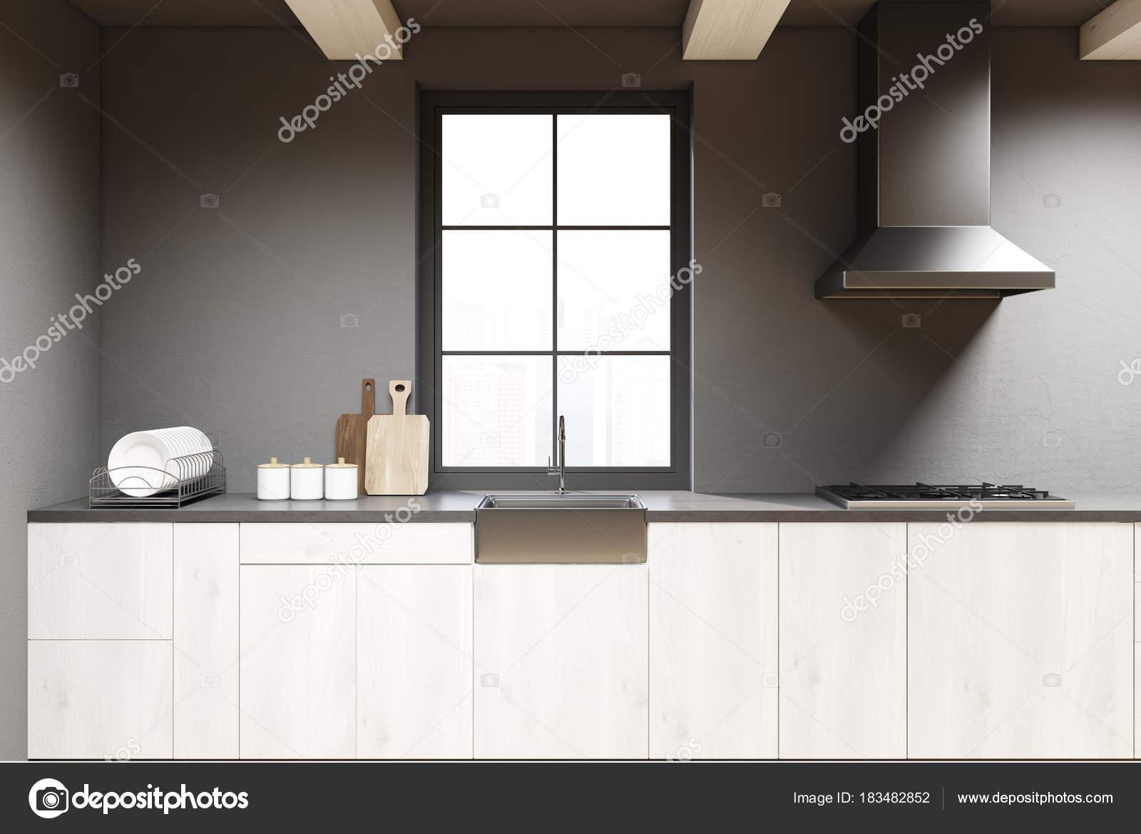 kuche grau mit holz arbeitsplatte. Black Bedroom Furniture Sets. Home Design Ideas