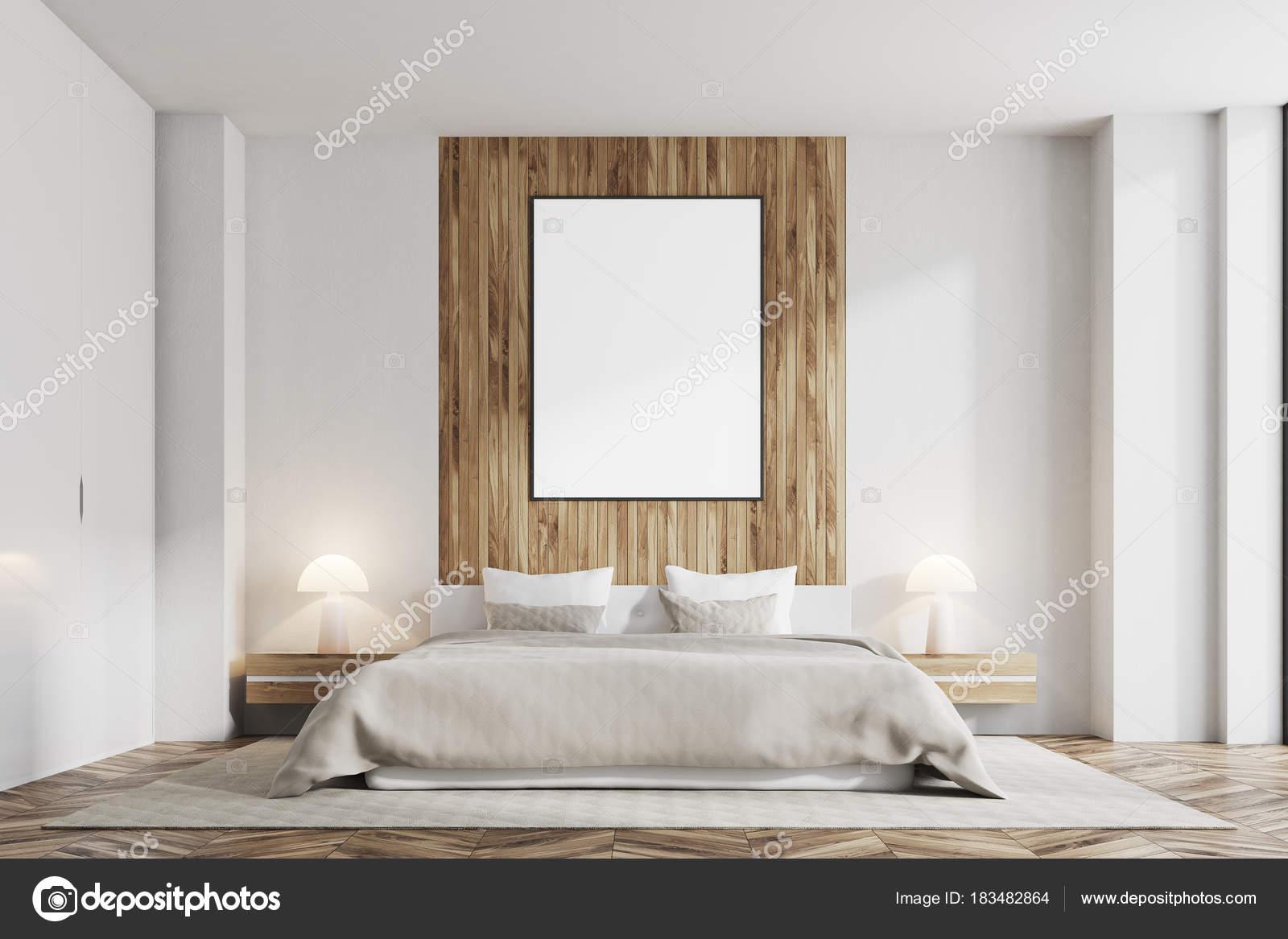 Camera da letto bianca e legno poster verticale anteriore foto stock denisismagilov 183482864 - Poster camera da letto ...