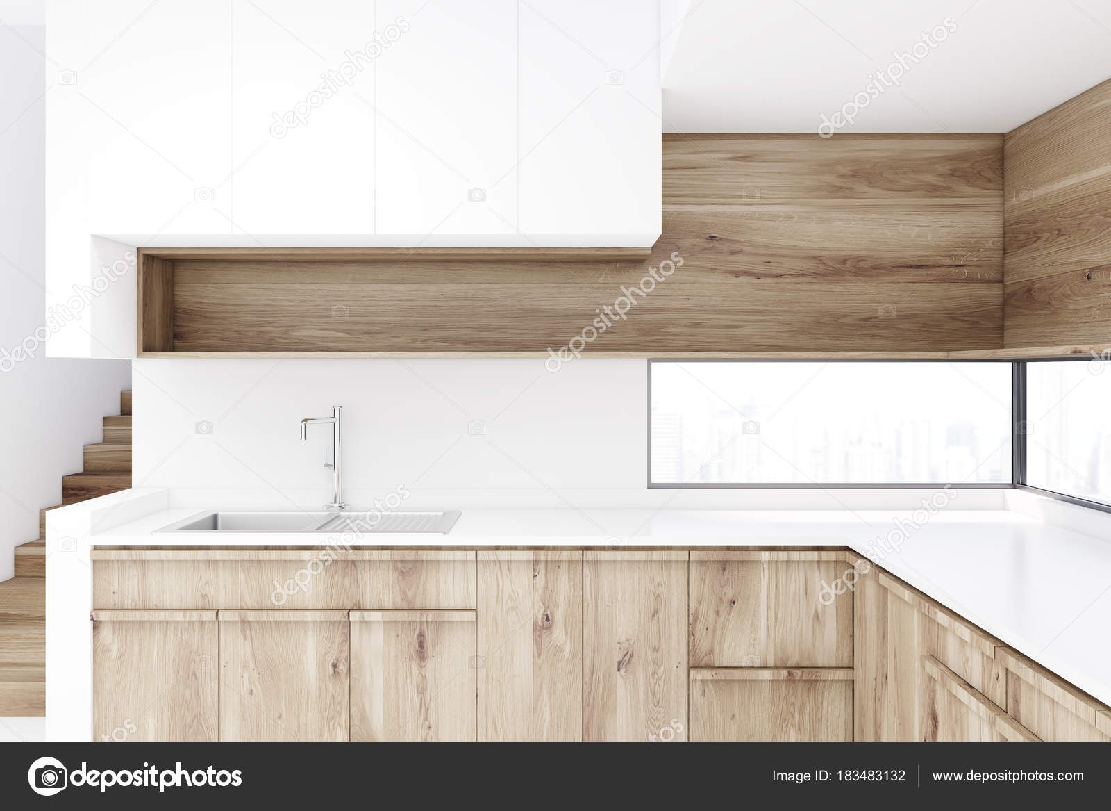 wooden countertops in kitchen White Kitchen With Wooden Countertops Stock Photo