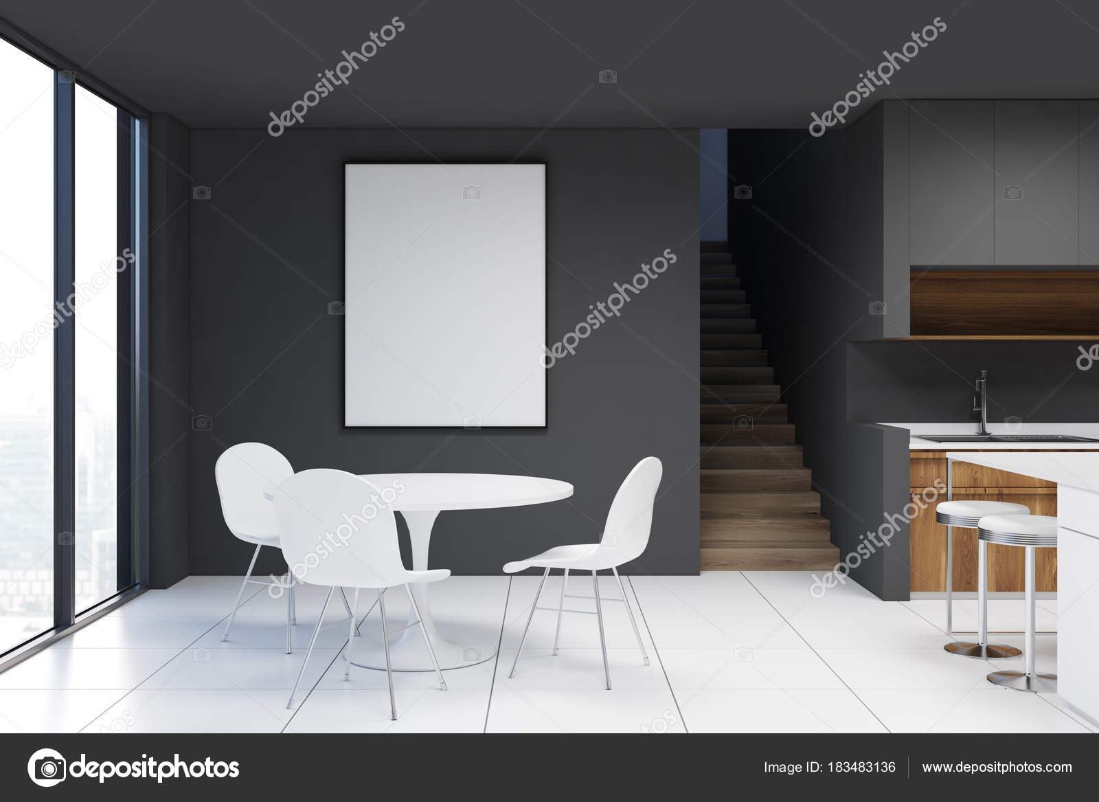 Salle à manger gris foncé avec affiche — Photographie denisismagilov ...