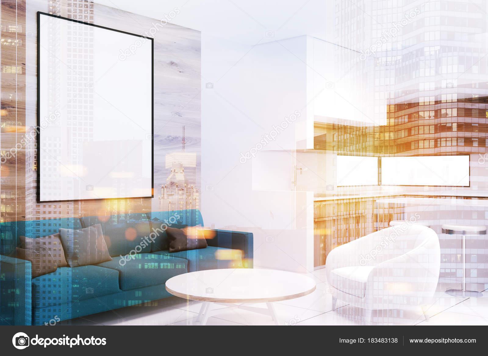 Sofá de la esquina, azul de madera sala de estar, poster doble ...