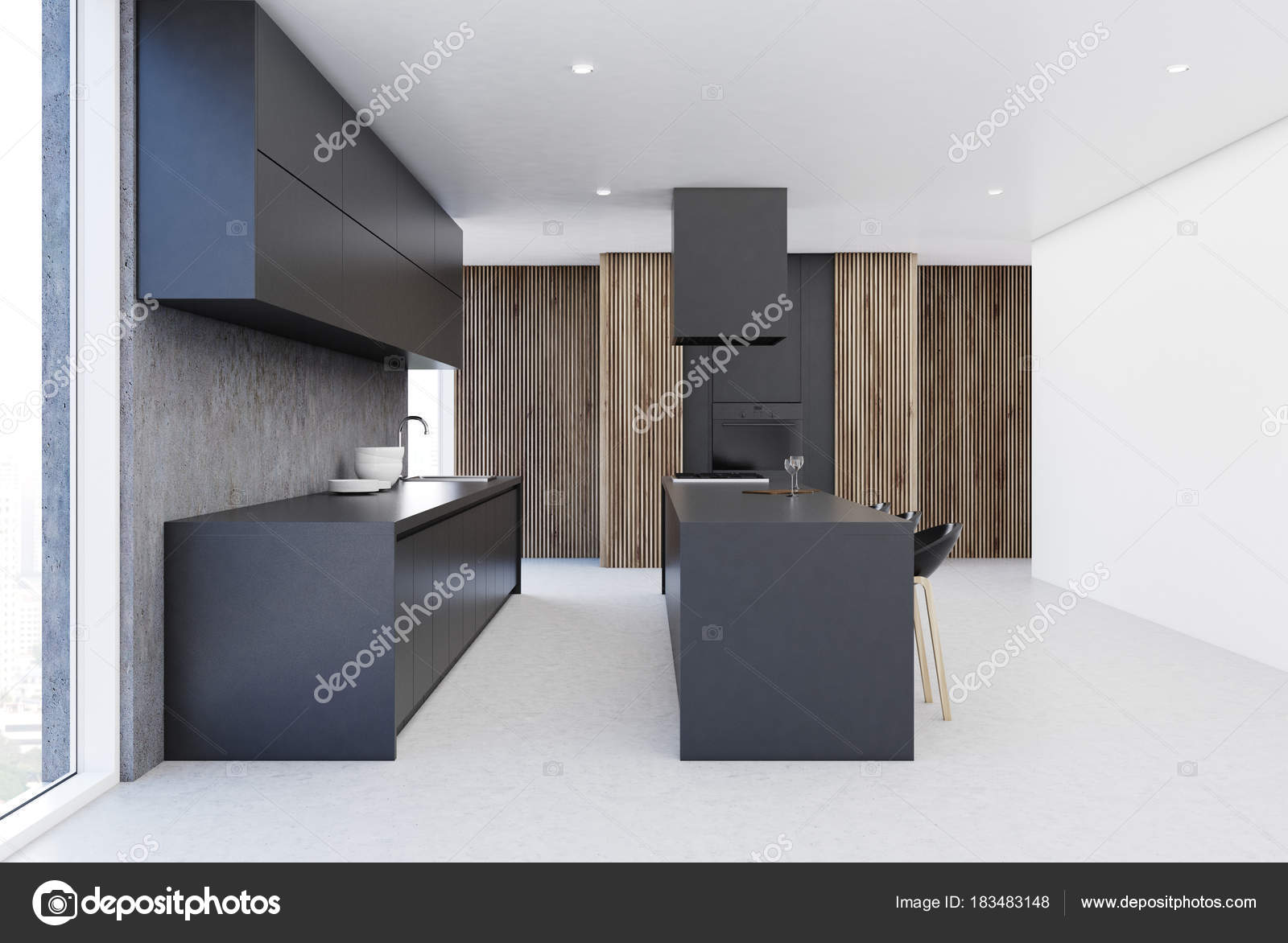 Grijze Houten Keuken : Moderne grijze en houten keuken interieur u stockfoto