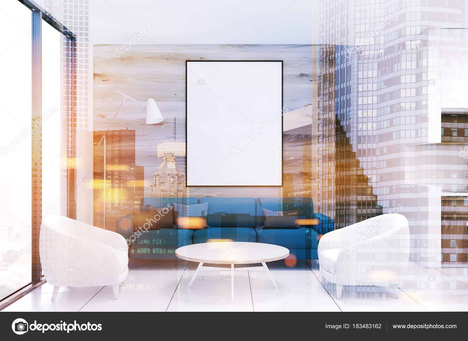 Sofá de salón madera, azul, poster doble — Foto de stock ...