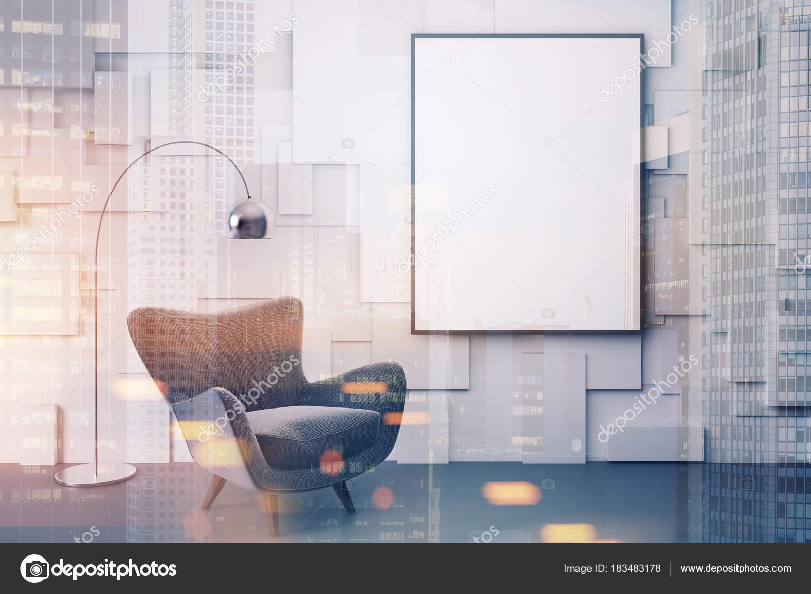 Sessel Plakat Weisse Wohnzimmer Grau Getont Stockfoto