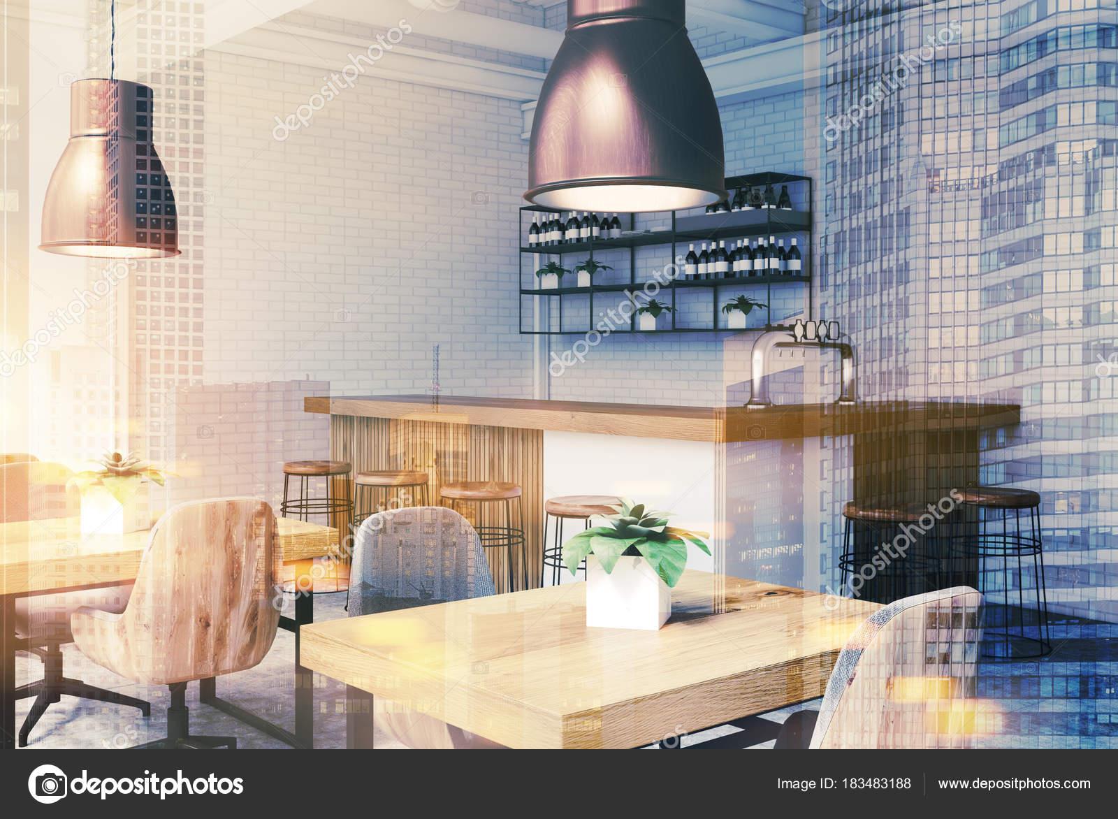 Angolo bar bianco e mattone tonica u foto stock denisismagilov
