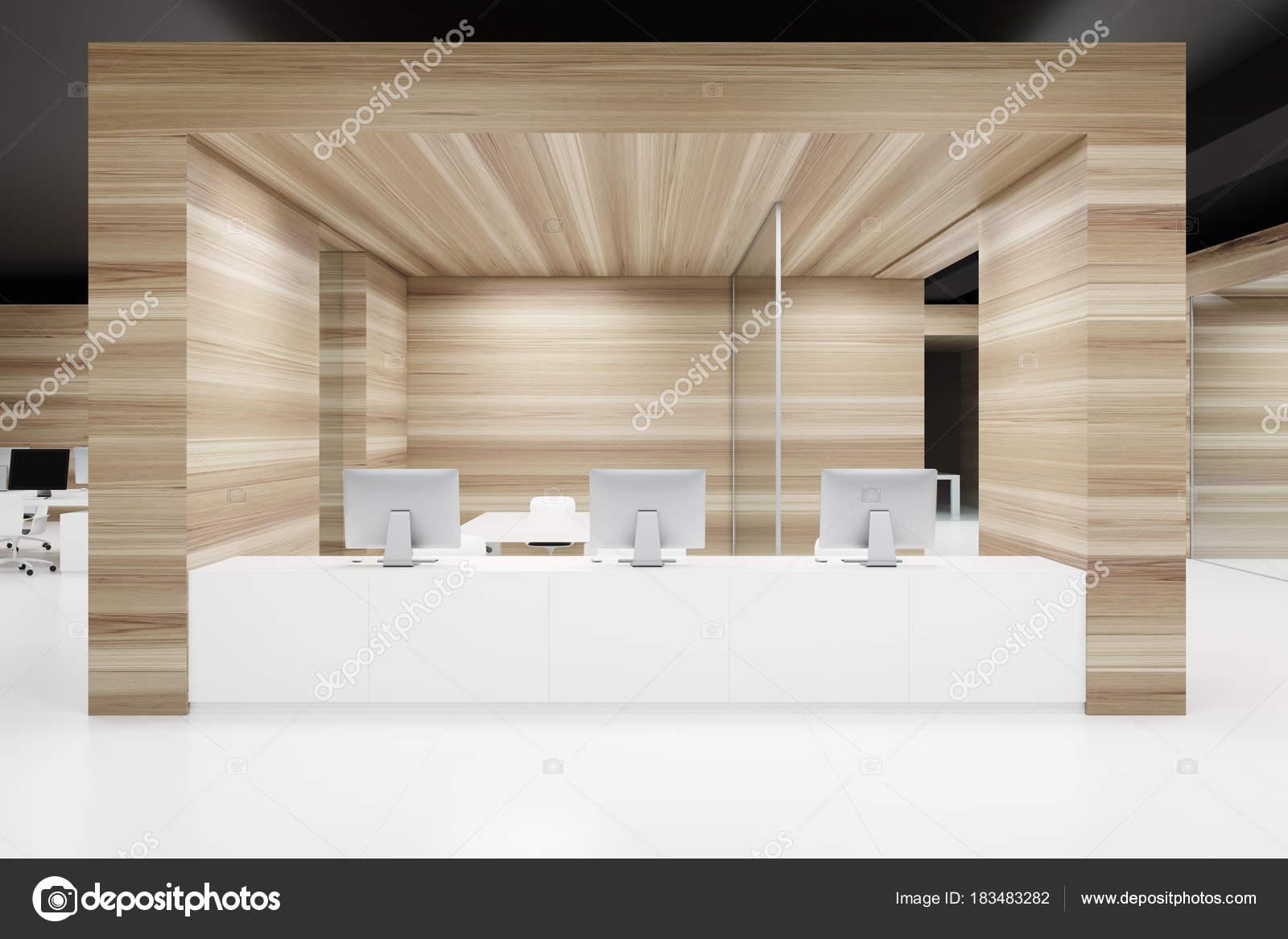 Ufficio Legno Bianco : Ricezione di parete in legno bianco ufficio u2014 foto stock