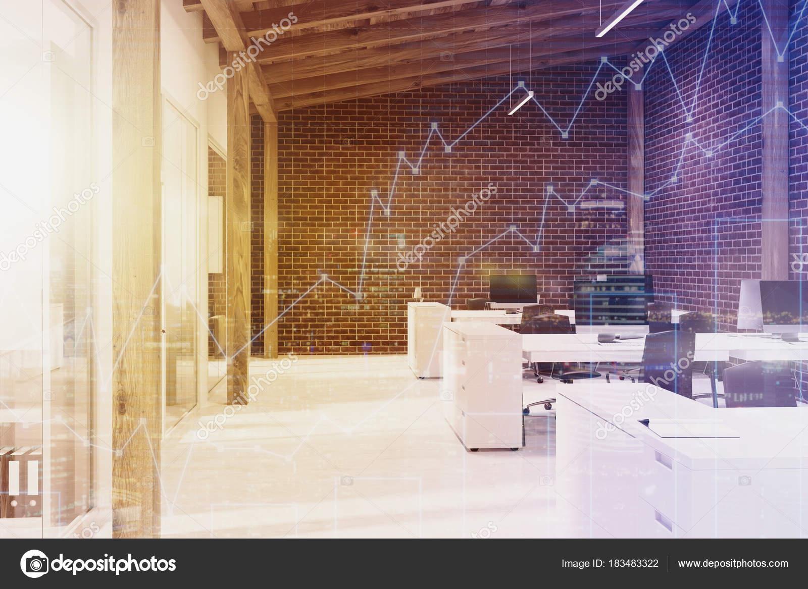 Brique ouvre espace bureau dans le grenier double u photographie