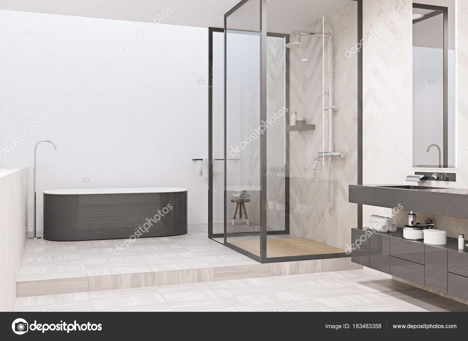 Modernes Bad Ecke Mit Einer Grauen Badewanne U2014 Stockfoto