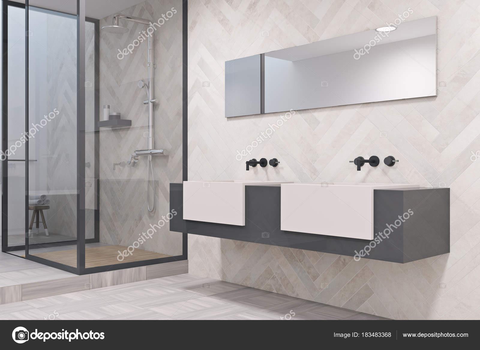 Wasbak Badkamer Grijze : Grijs en wit dubbele wastafel badkamer kant u2014 stockfoto