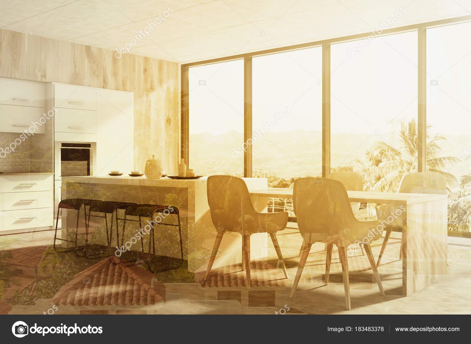 Graue Küche mit Panoramafenster und Backofen — Stockfoto ...
