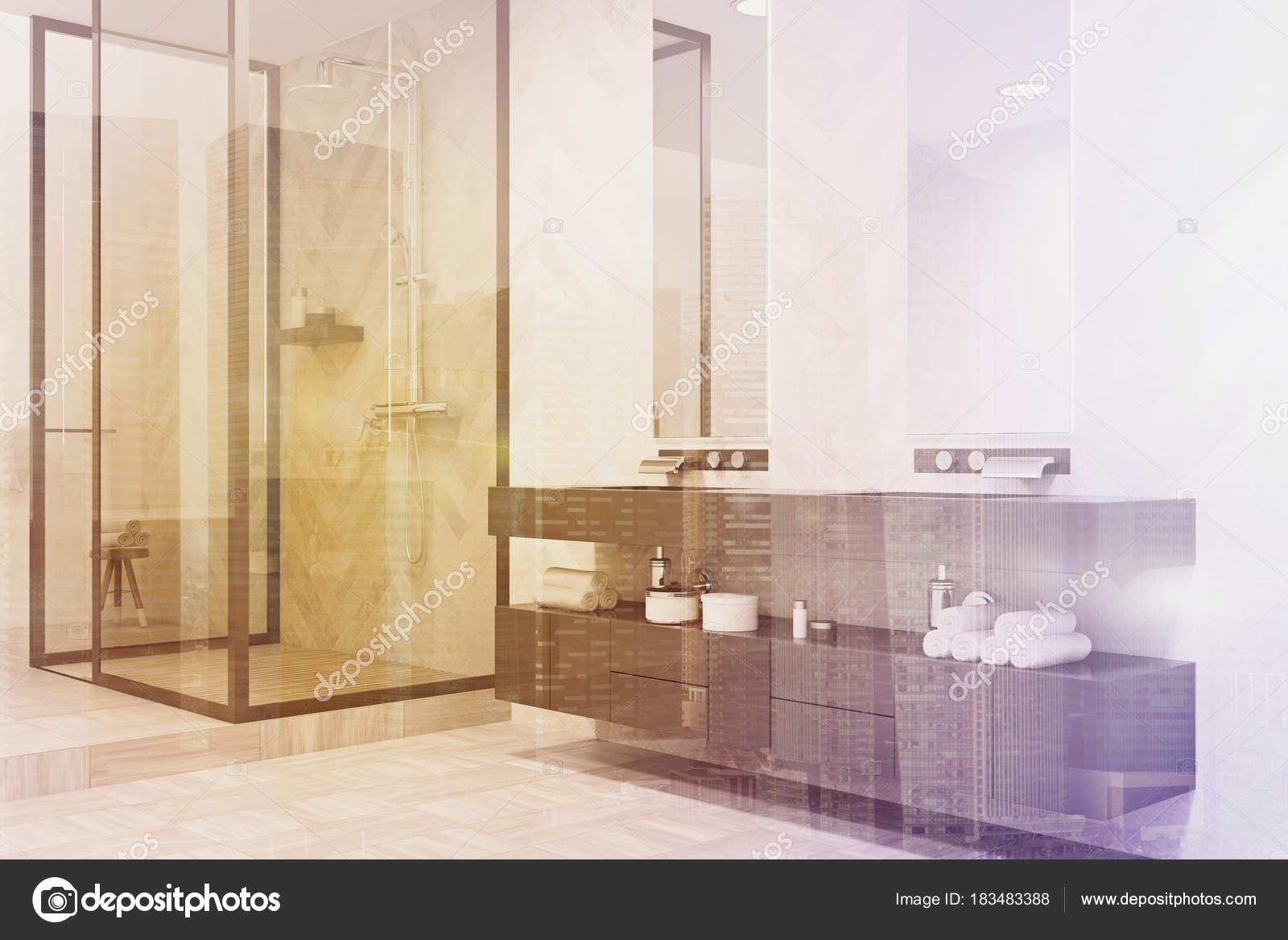 Tons de gris double lavabo salle de bains côté — Photographie ...