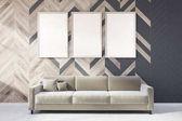 Fotografia Salone grigio e in legno, poster gallery, divano